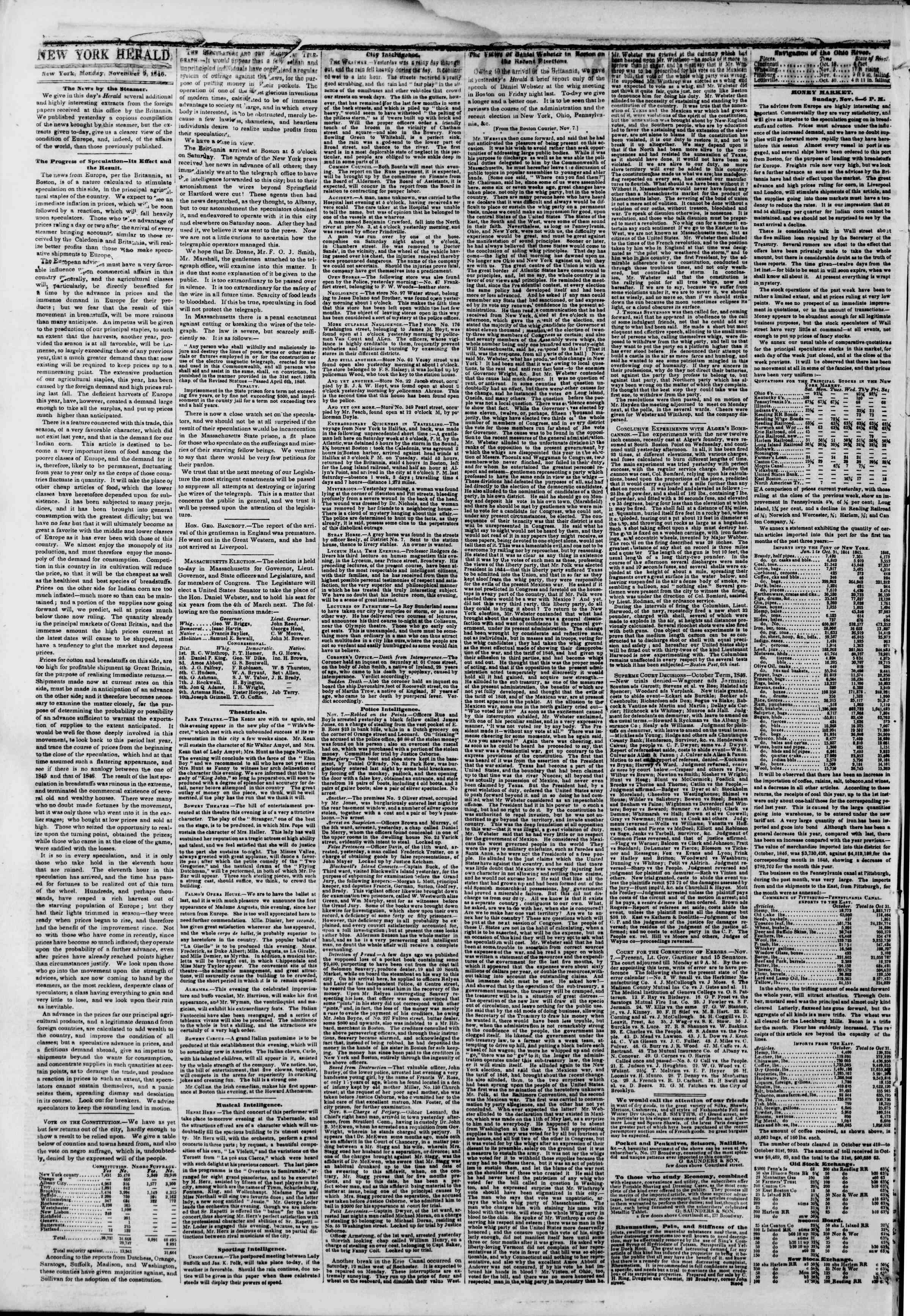 Newspaper of The New York Herald dated November 9, 1846 Page 2