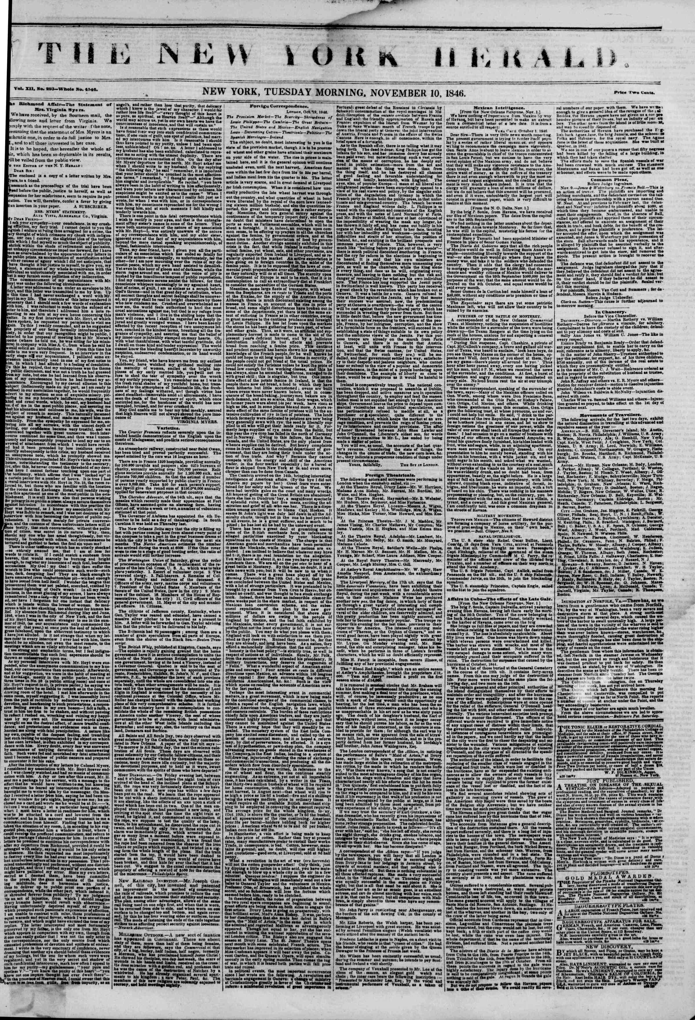 Newspaper of The New York Herald dated November 10, 1846 Page 1