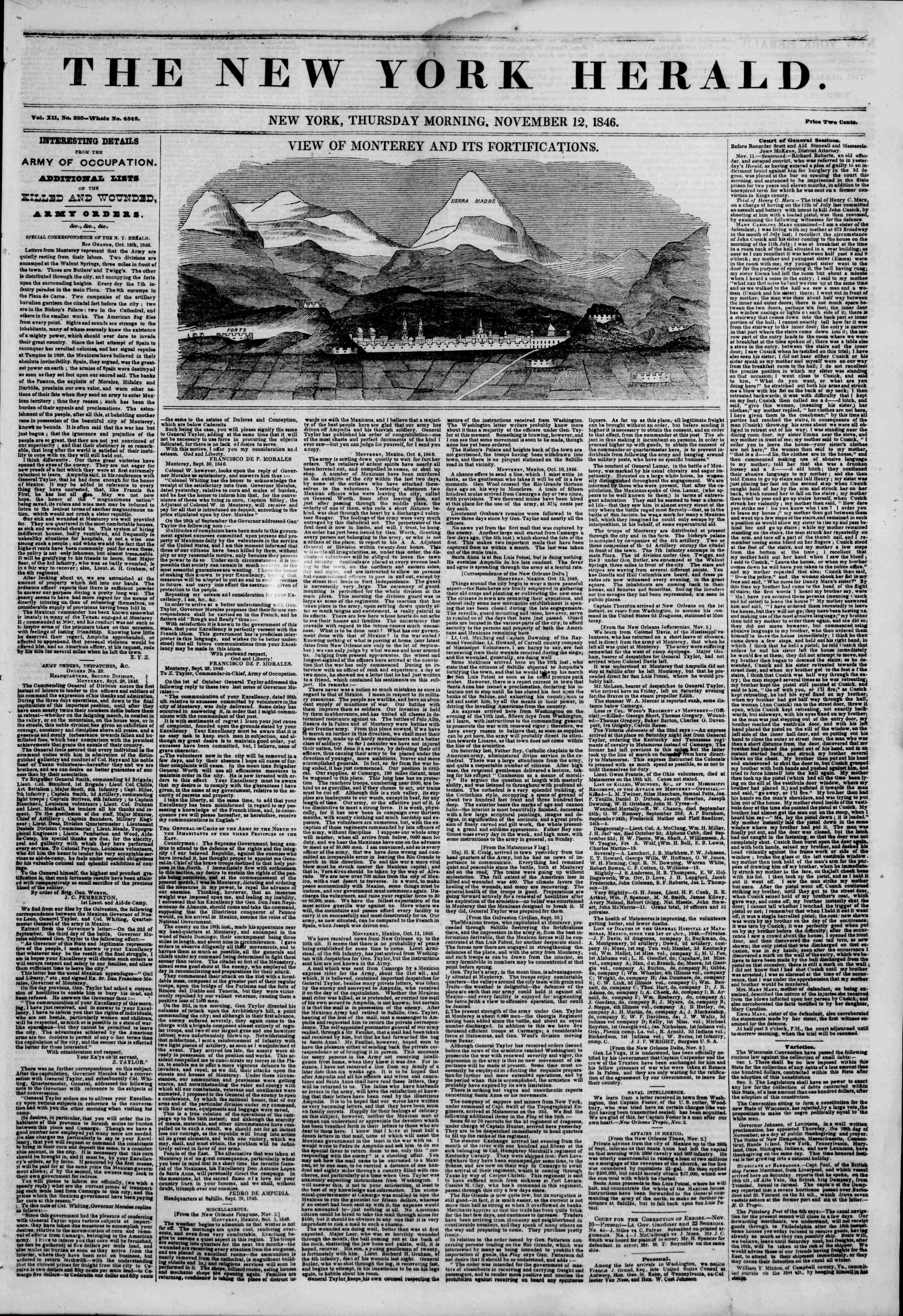 Newspaper of The New York Herald dated November 12, 1846 Page 1