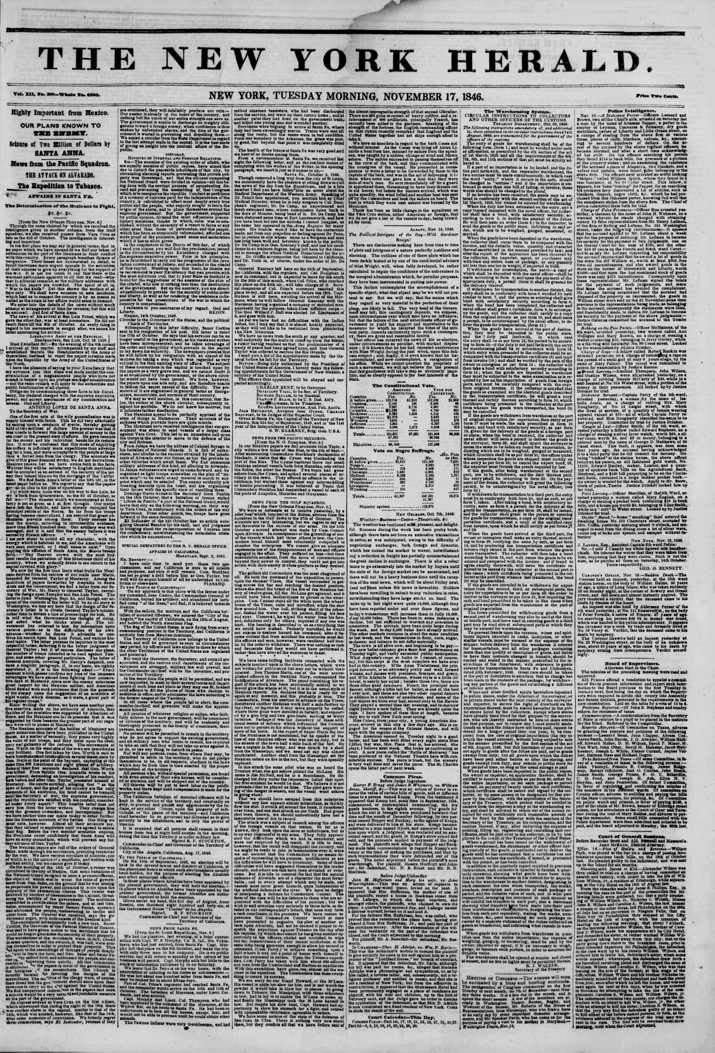 Newspaper of The New York Herald dated November 17, 1846 Page 1