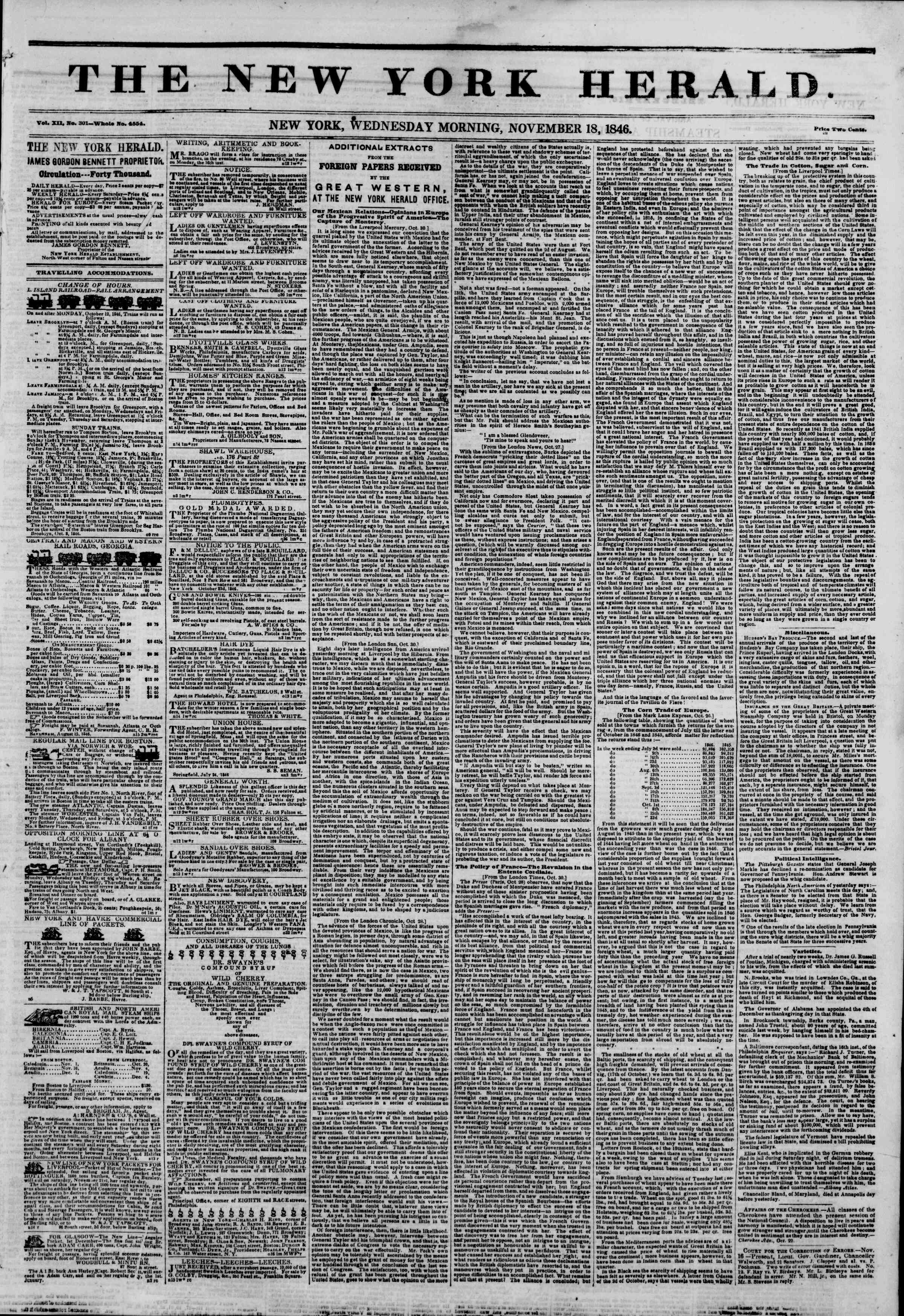Newspaper of The New York Herald dated 18 Kasım 1846 Page 1