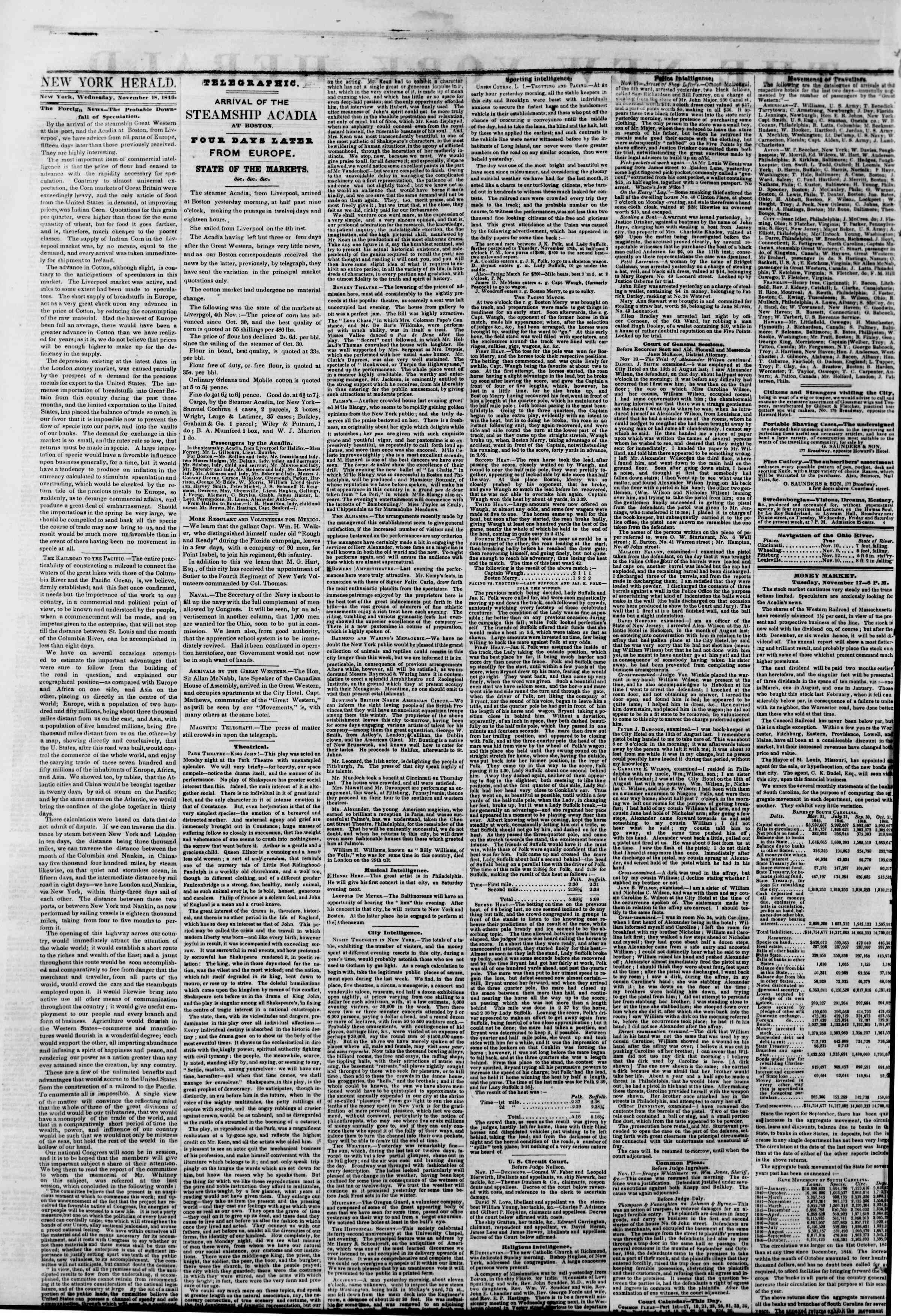 Newspaper of The New York Herald dated November 18, 1846 Page 2