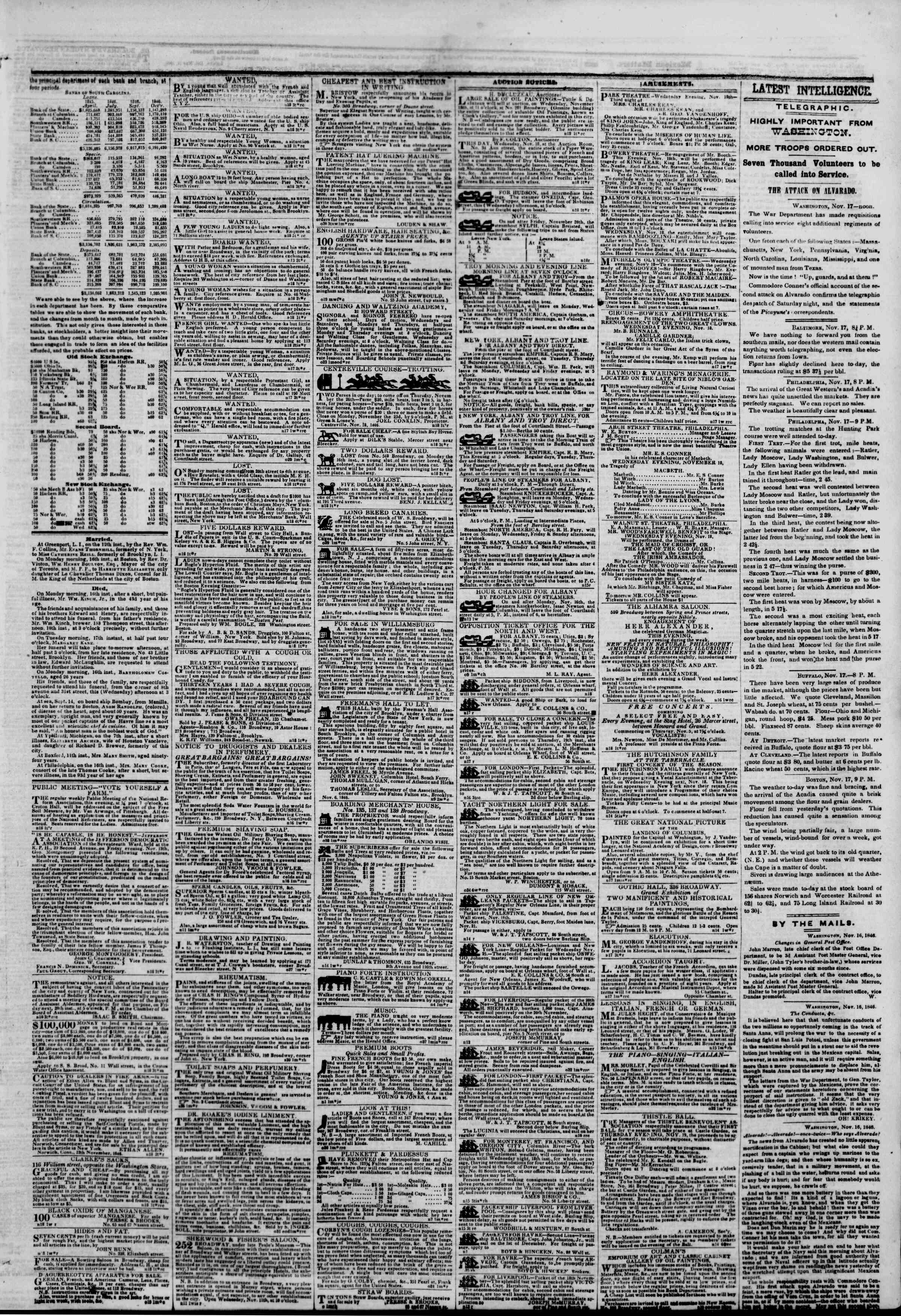 Newspaper of The New York Herald dated November 18, 1846 Page 3