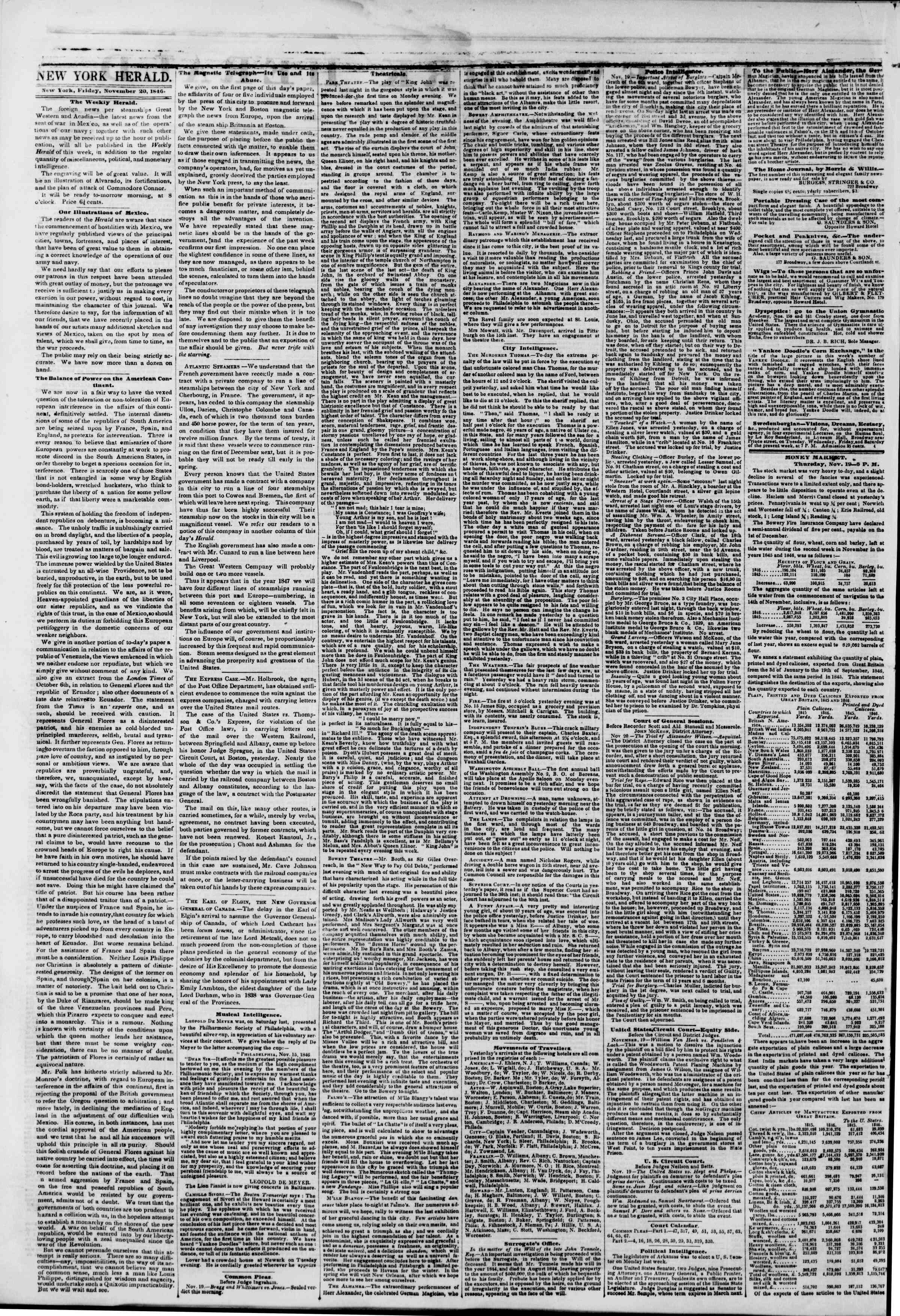 Newspaper of The New York Herald dated November 20, 1846 Page 2