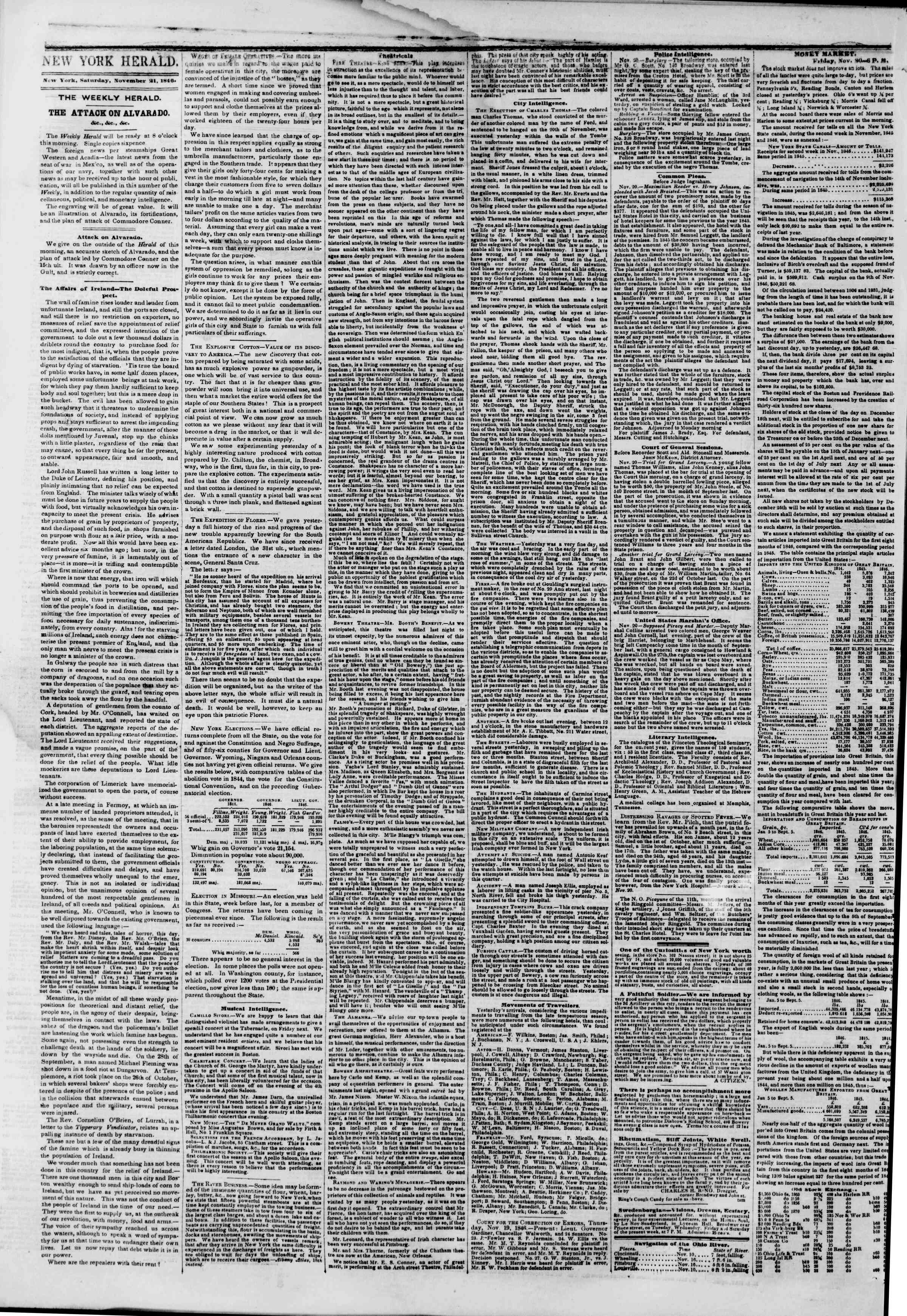 Newspaper of The New York Herald dated November 21, 1846 Page 2