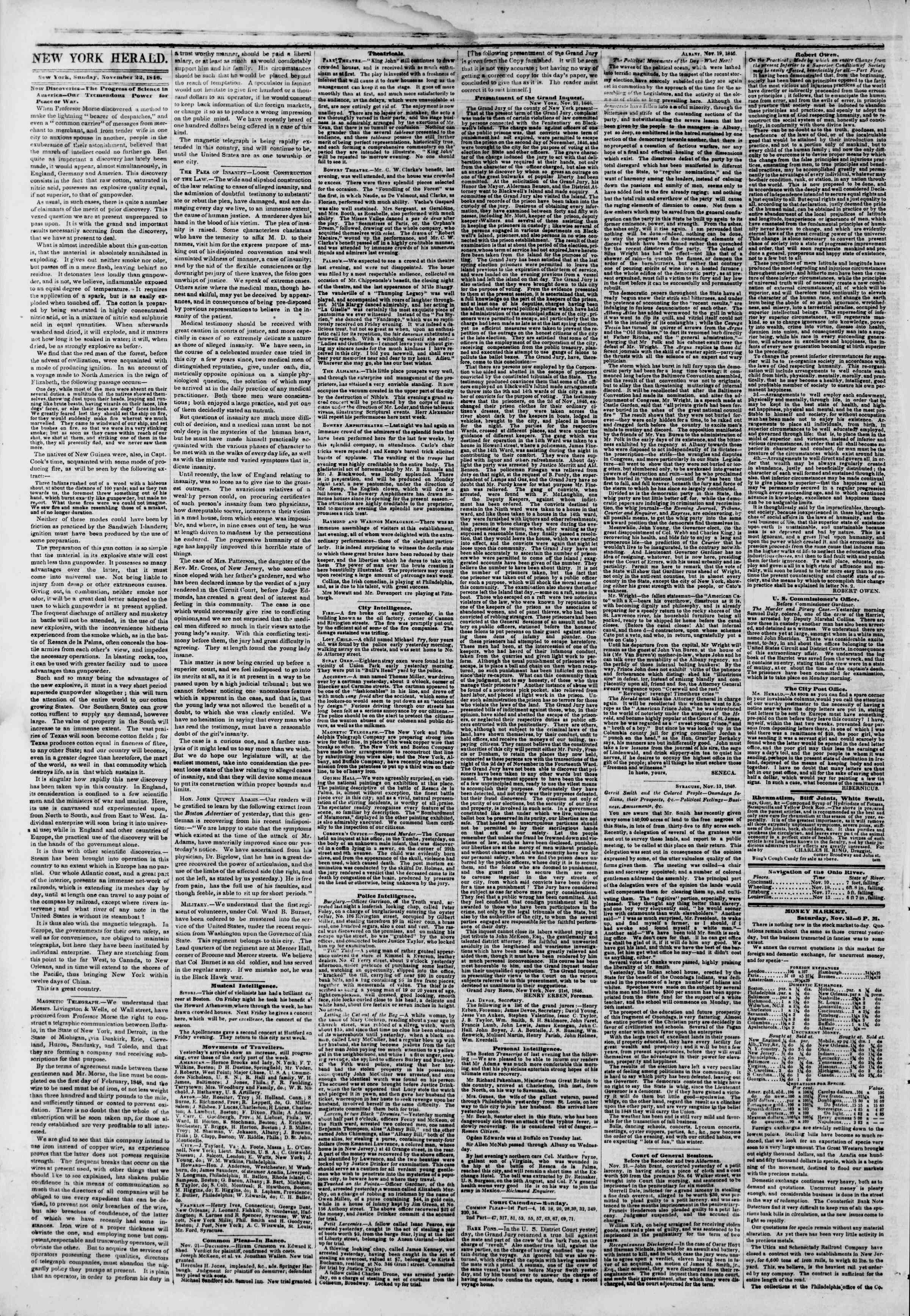 Newspaper of The New York Herald dated November 22, 1846 Page 2