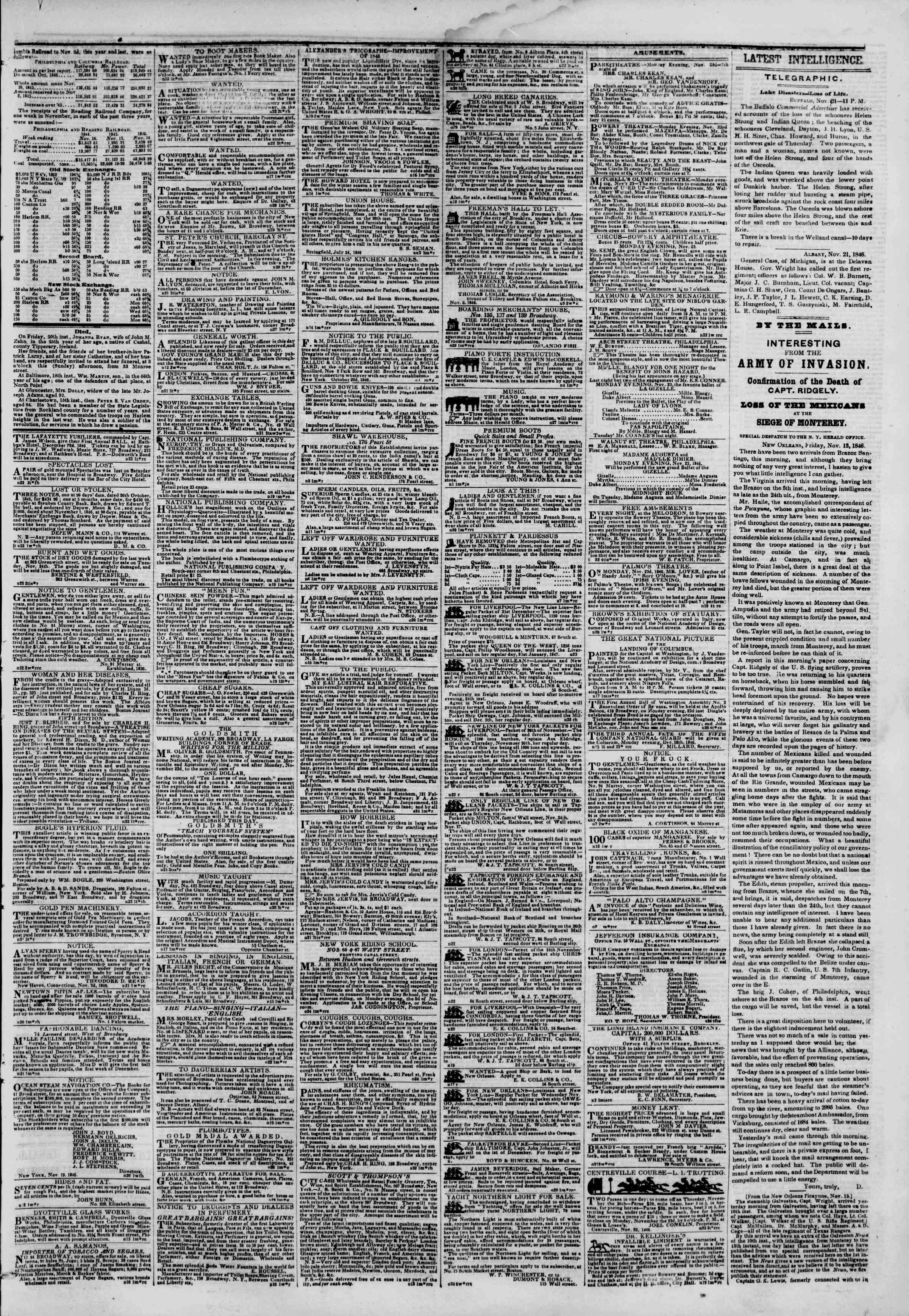 Newspaper of The New York Herald dated November 22, 1846 Page 3