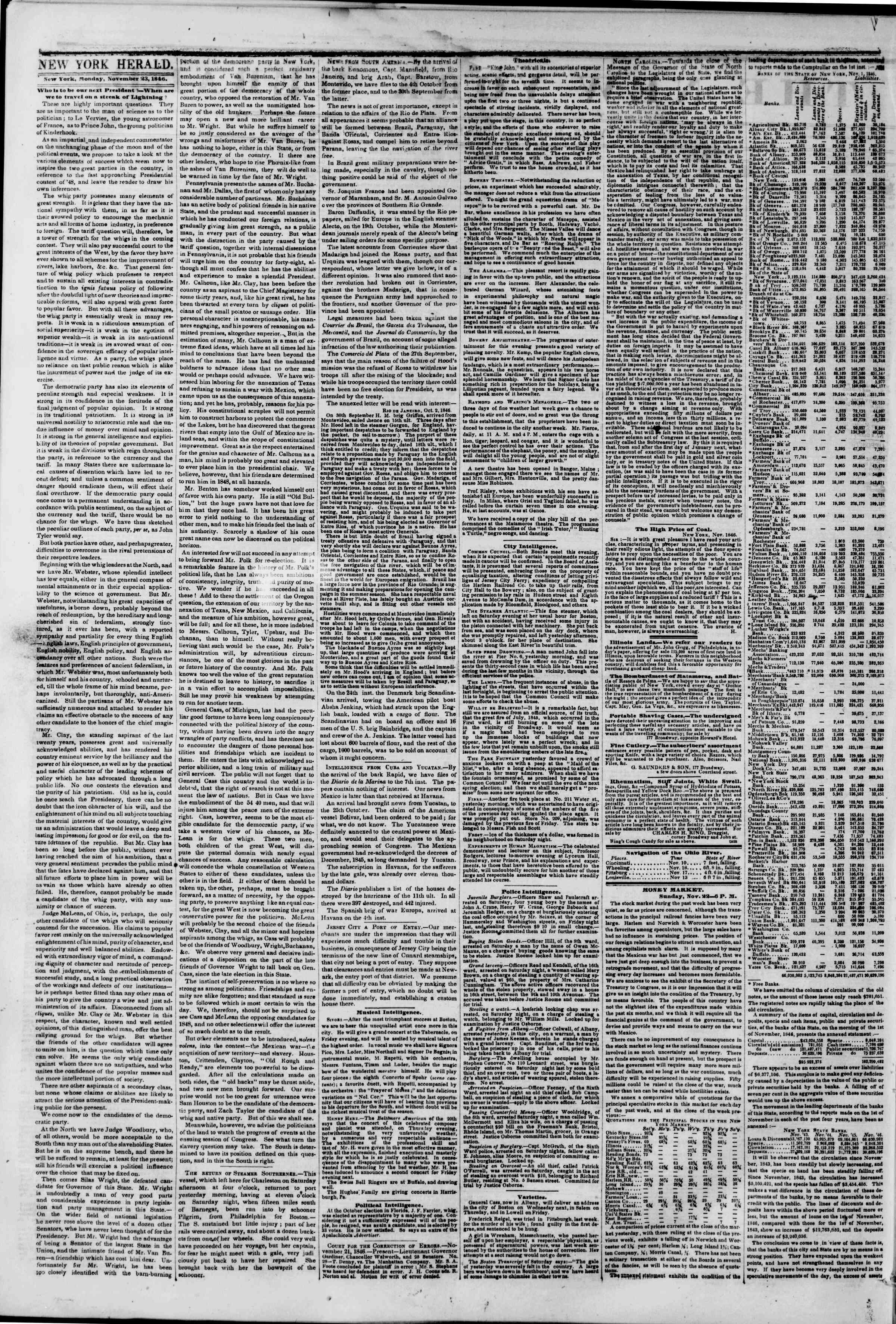 Newspaper of The New York Herald dated November 23, 1846 Page 2