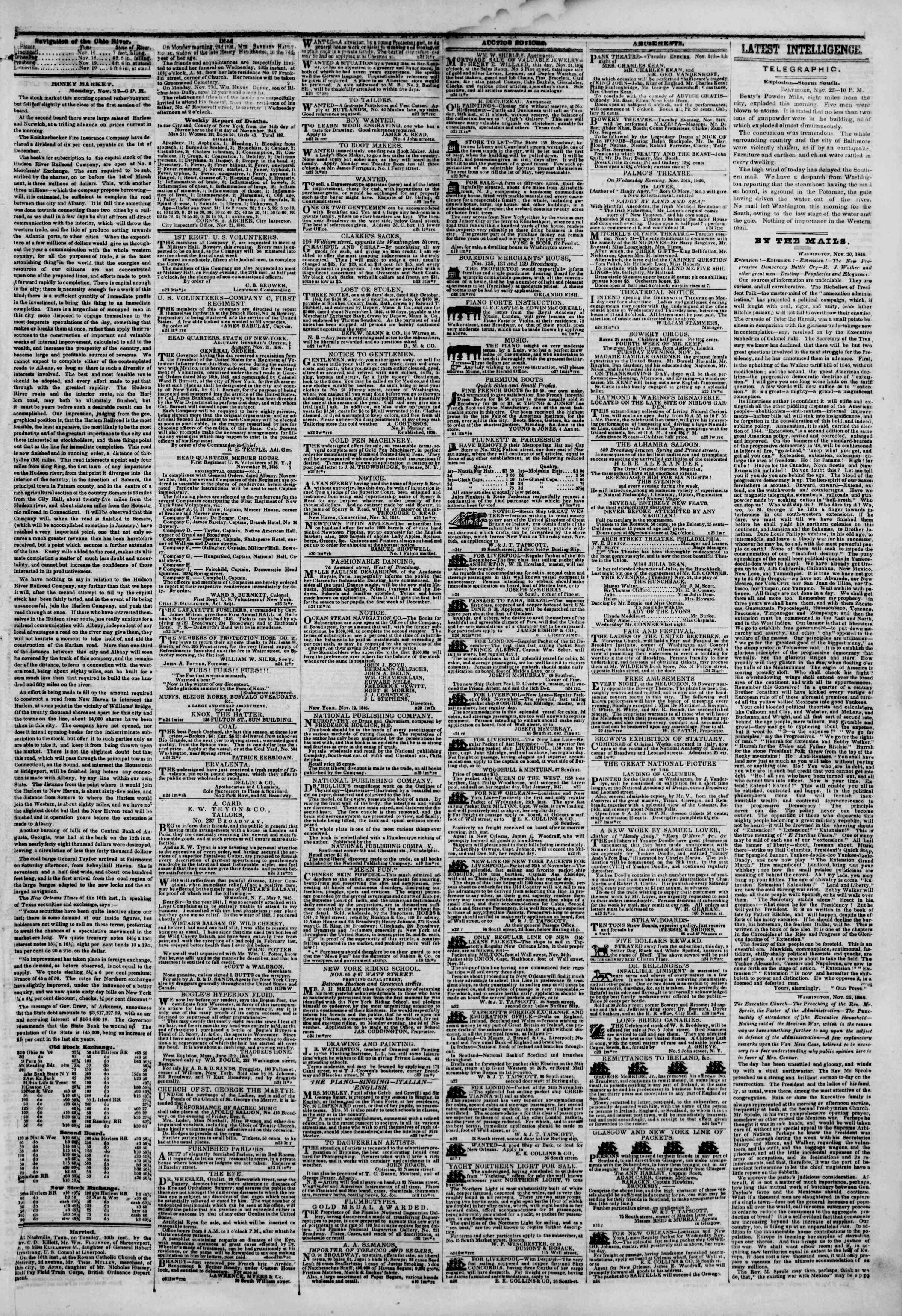 Newspaper of The New York Herald dated November 24, 1846 Page 3