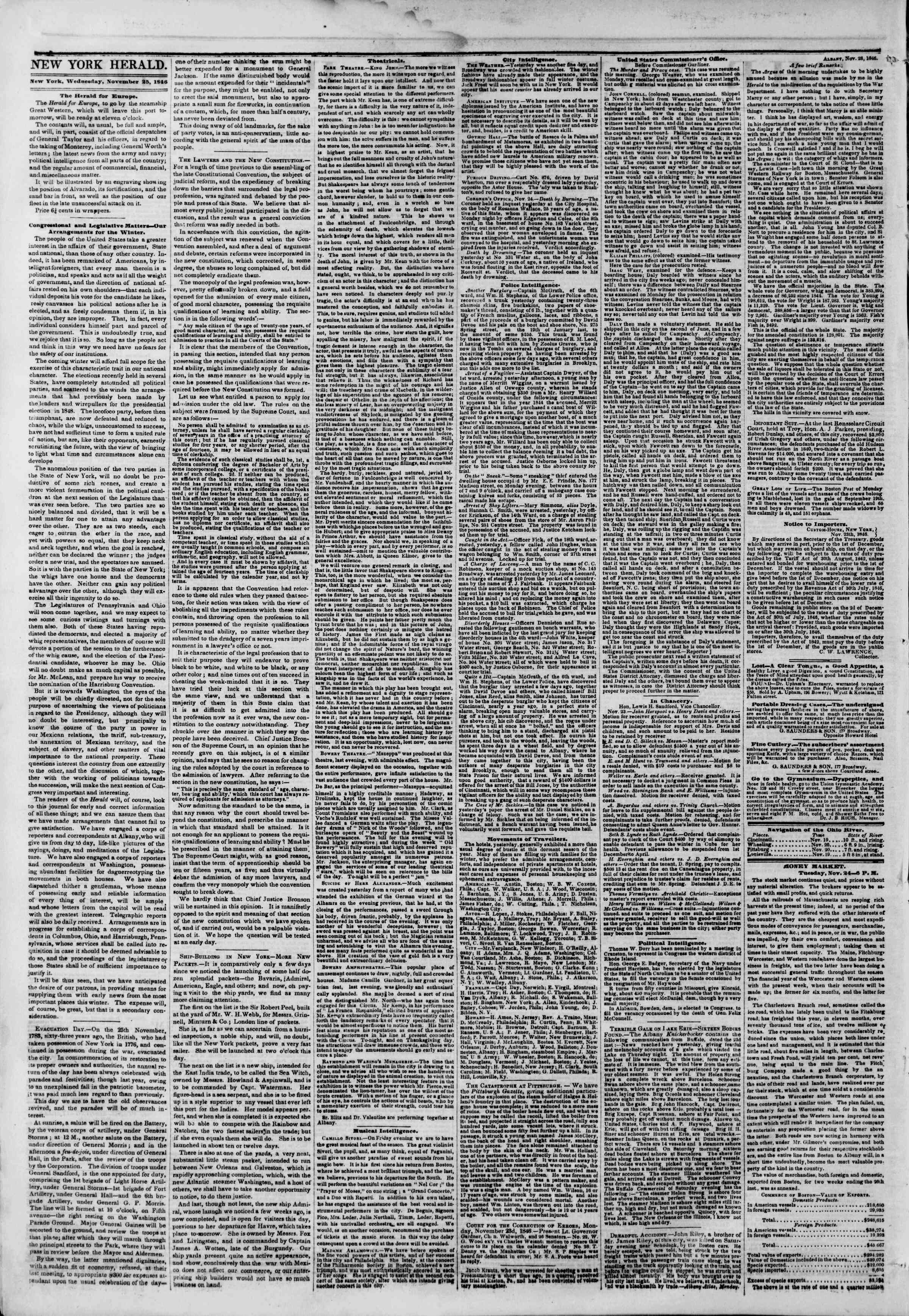 Newspaper of The New York Herald dated November 25, 1846 Page 2
