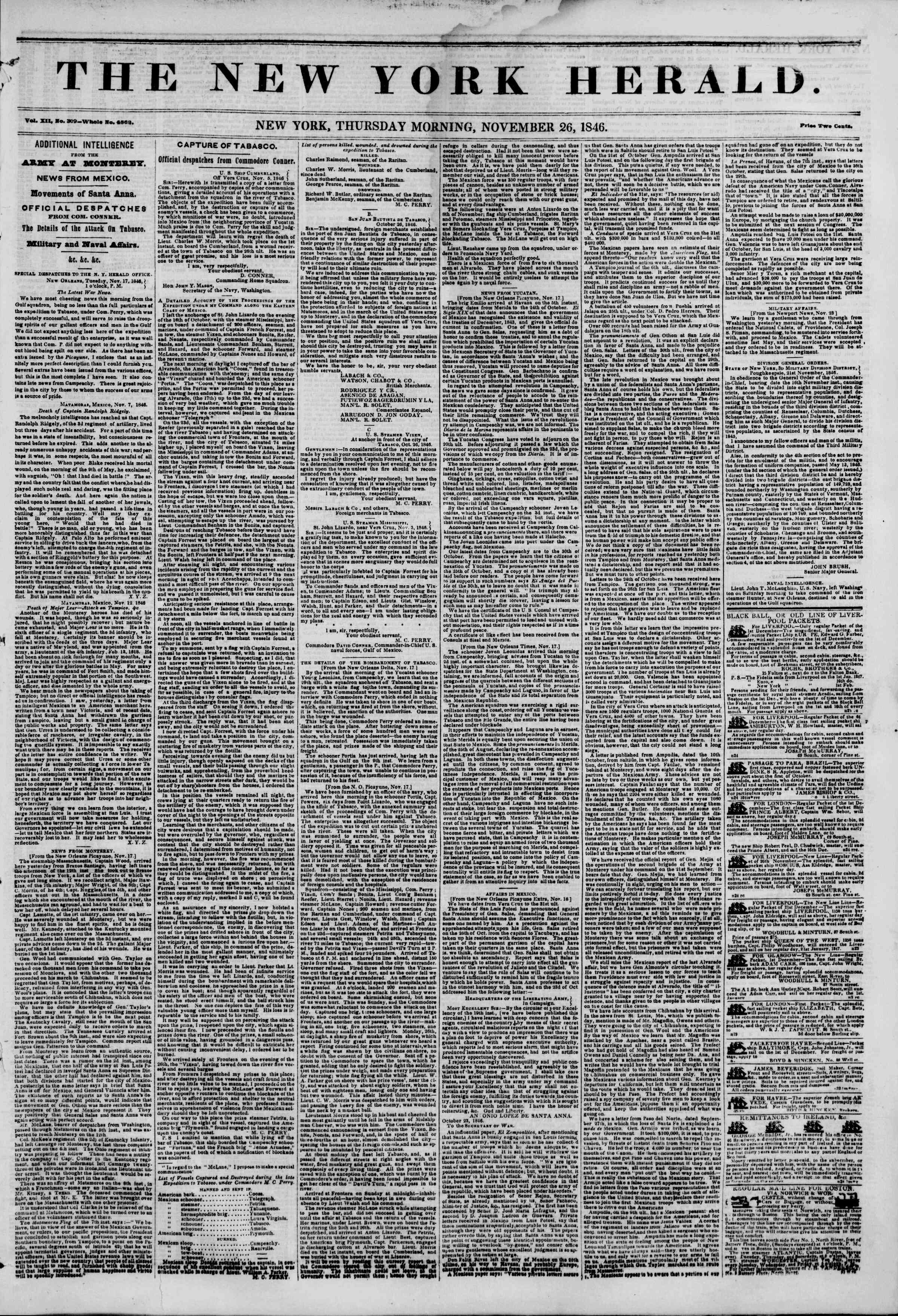 Newspaper of The New York Herald dated November 26, 1846 Page 1