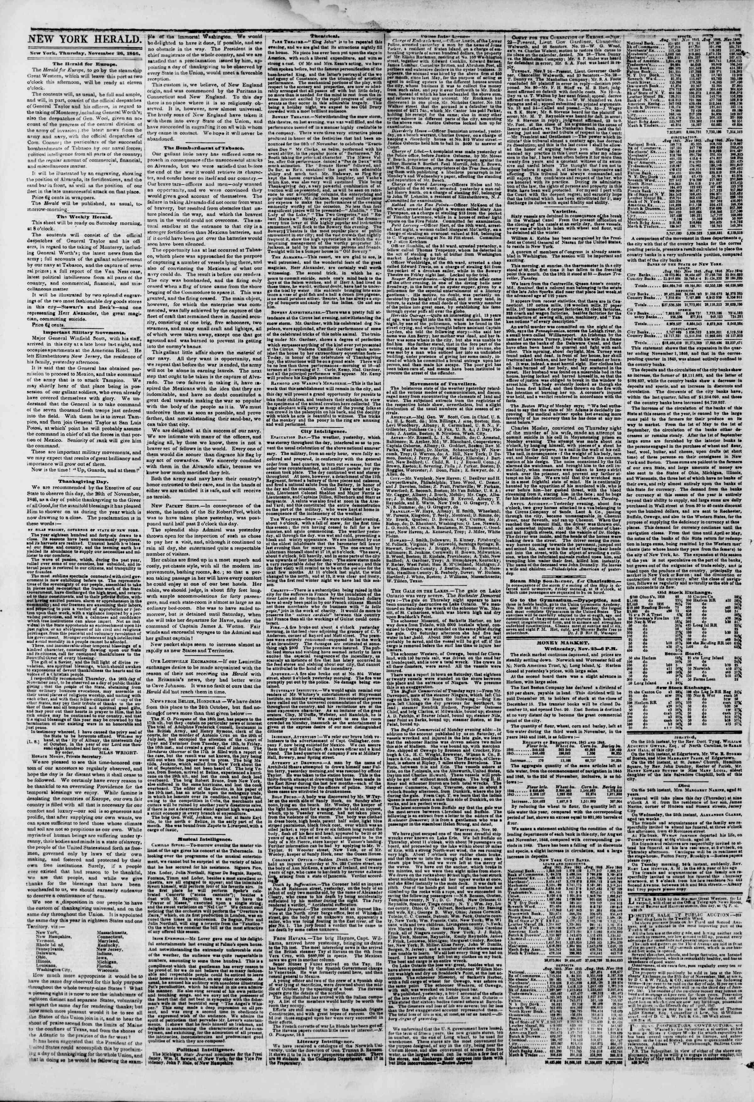 26 Kasım 1846 tarihli The New York Herald Gazetesi Sayfa 2