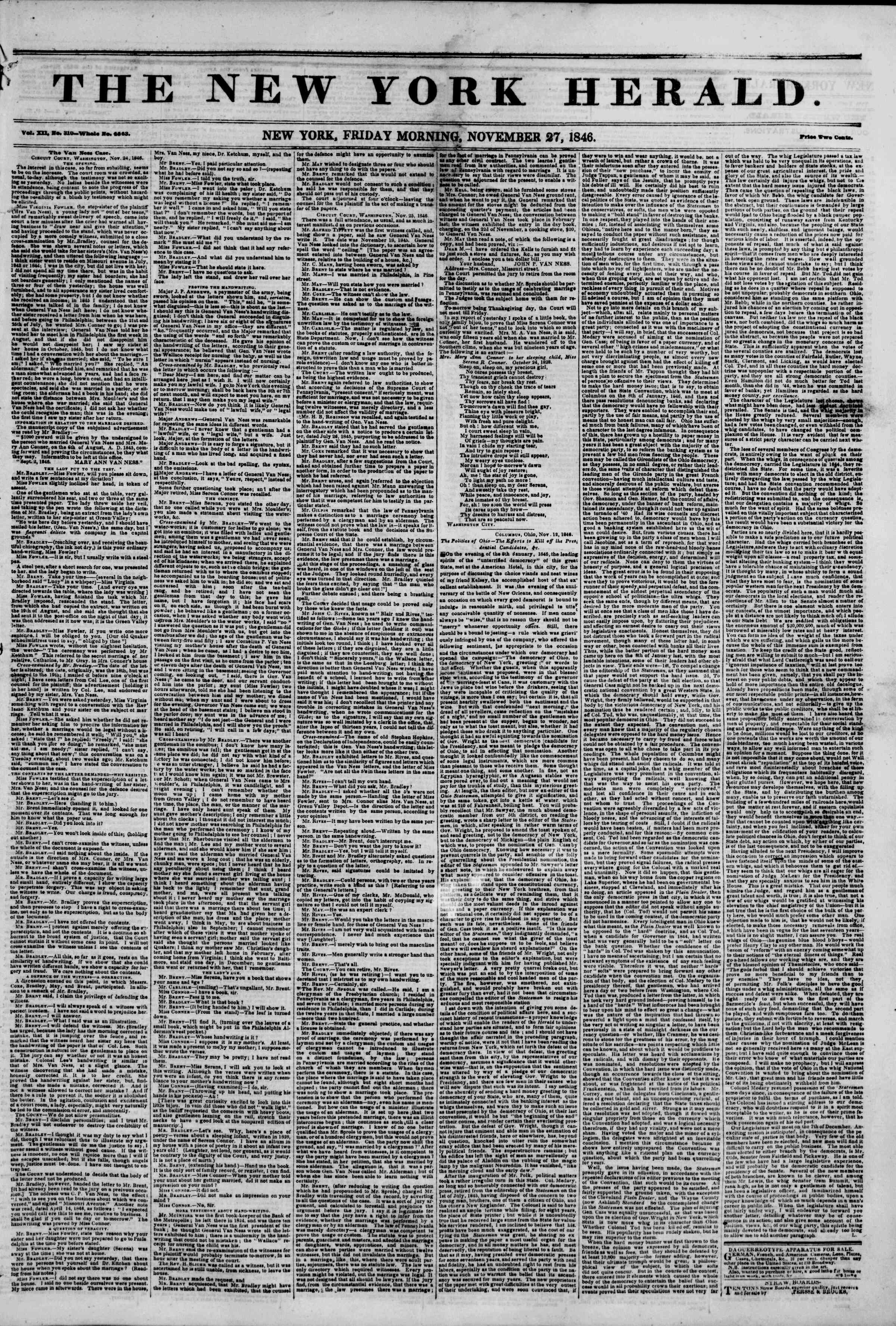 Newspaper of The New York Herald dated November 27, 1846 Page 1