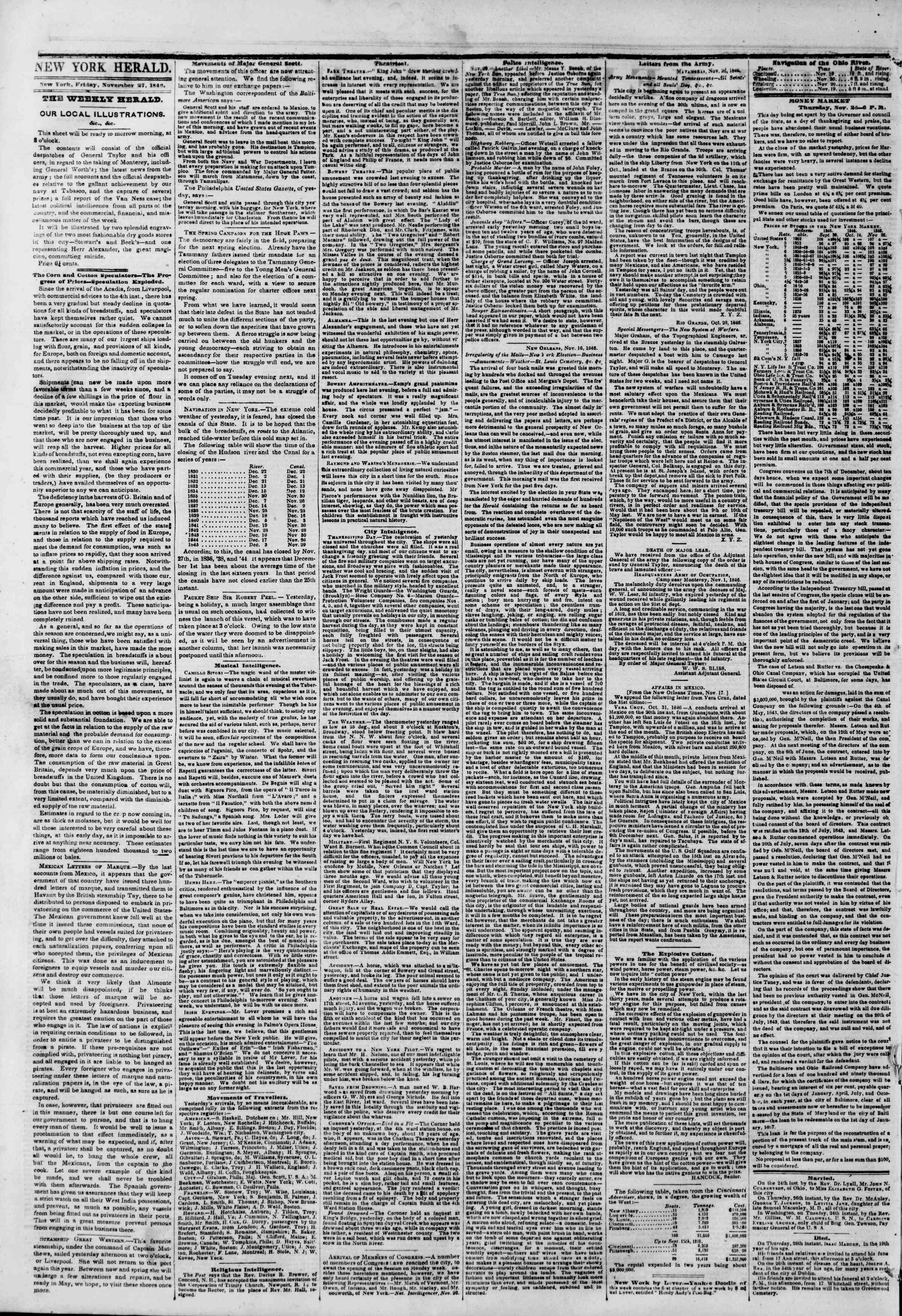 Newspaper of The New York Herald dated November 27, 1846 Page 2
