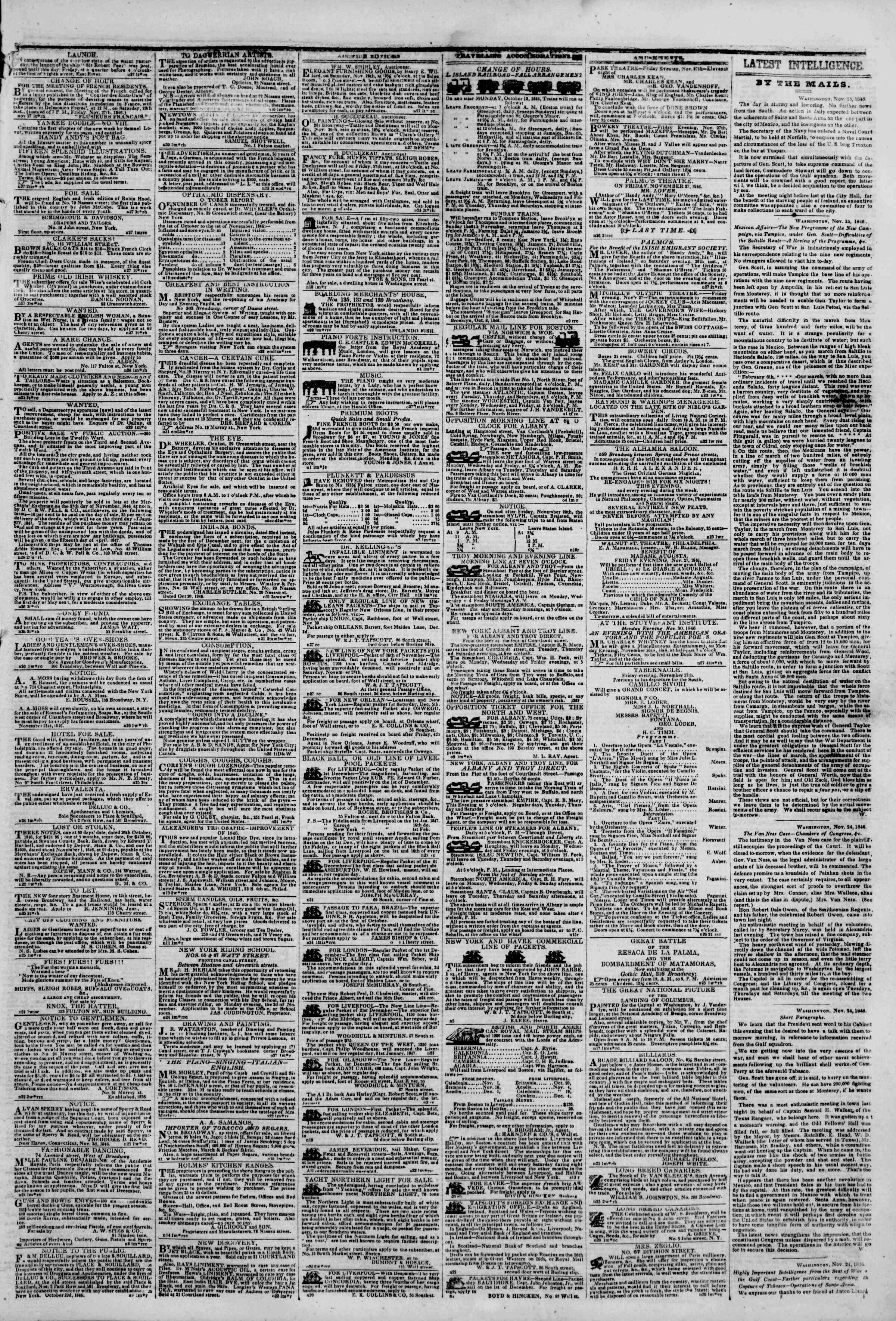 Newspaper of The New York Herald dated November 27, 1846 Page 3