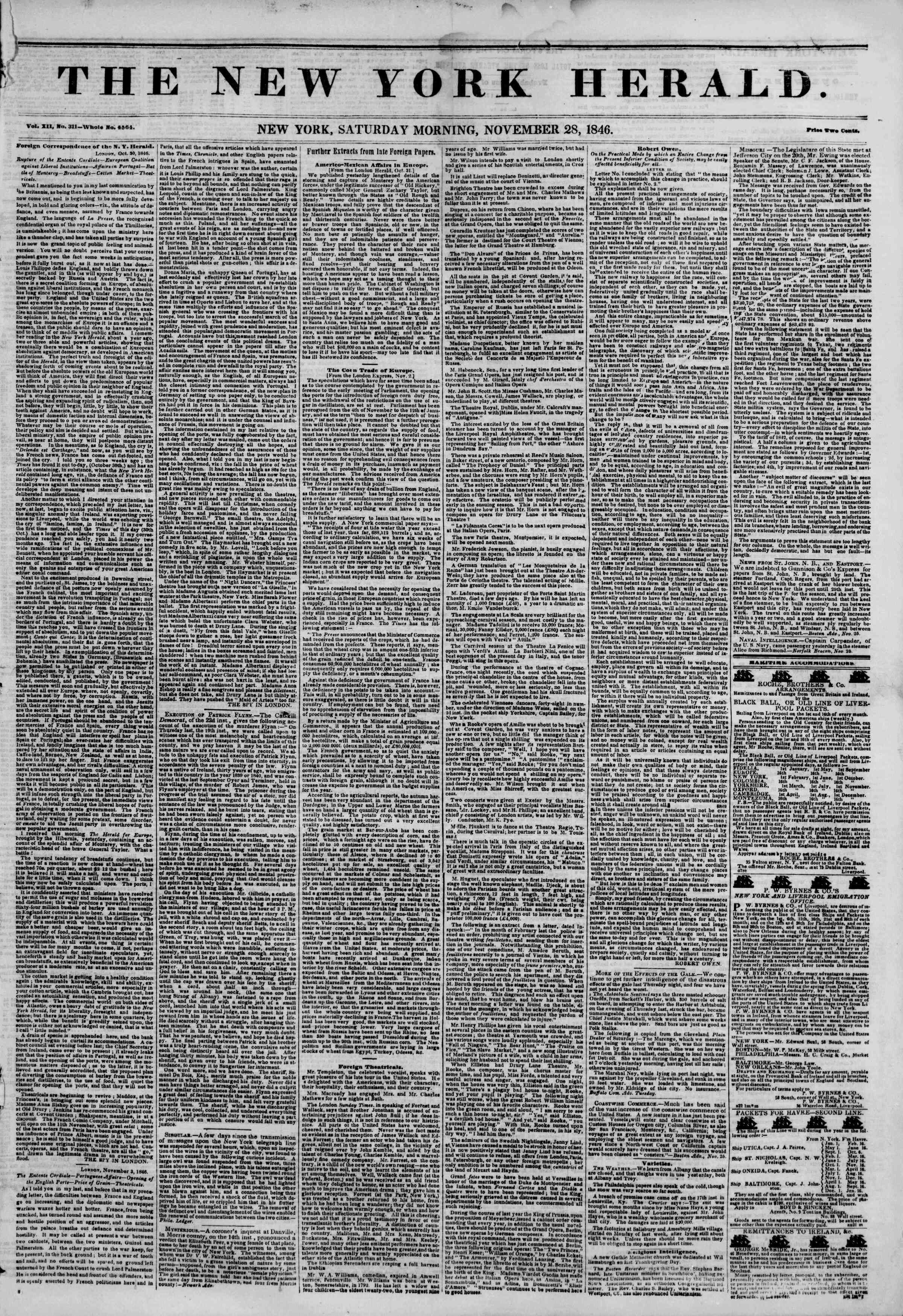 Newspaper of The New York Herald dated November 28, 1846 Page 1