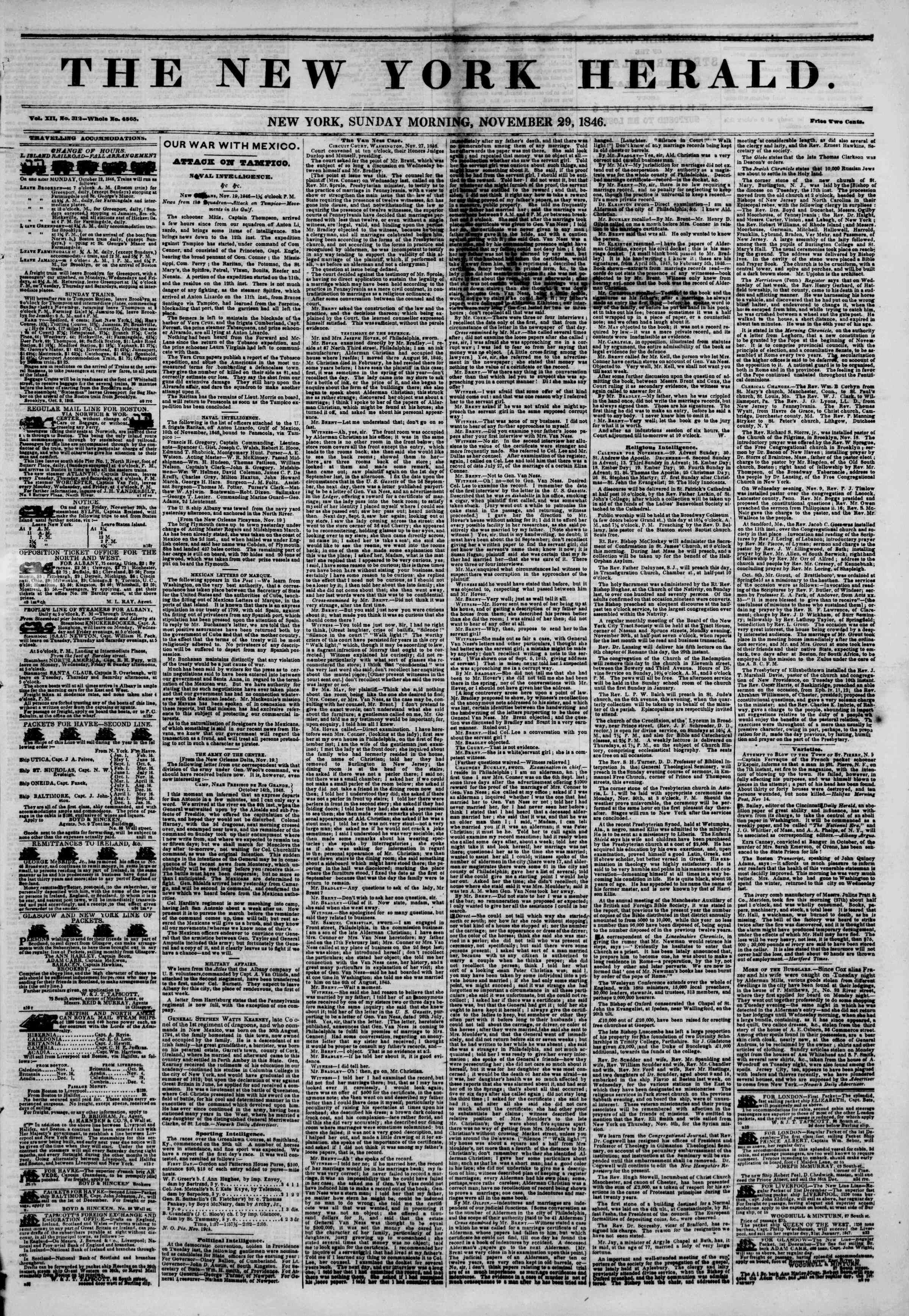 Newspaper of The New York Herald dated November 29, 1846 Page 1