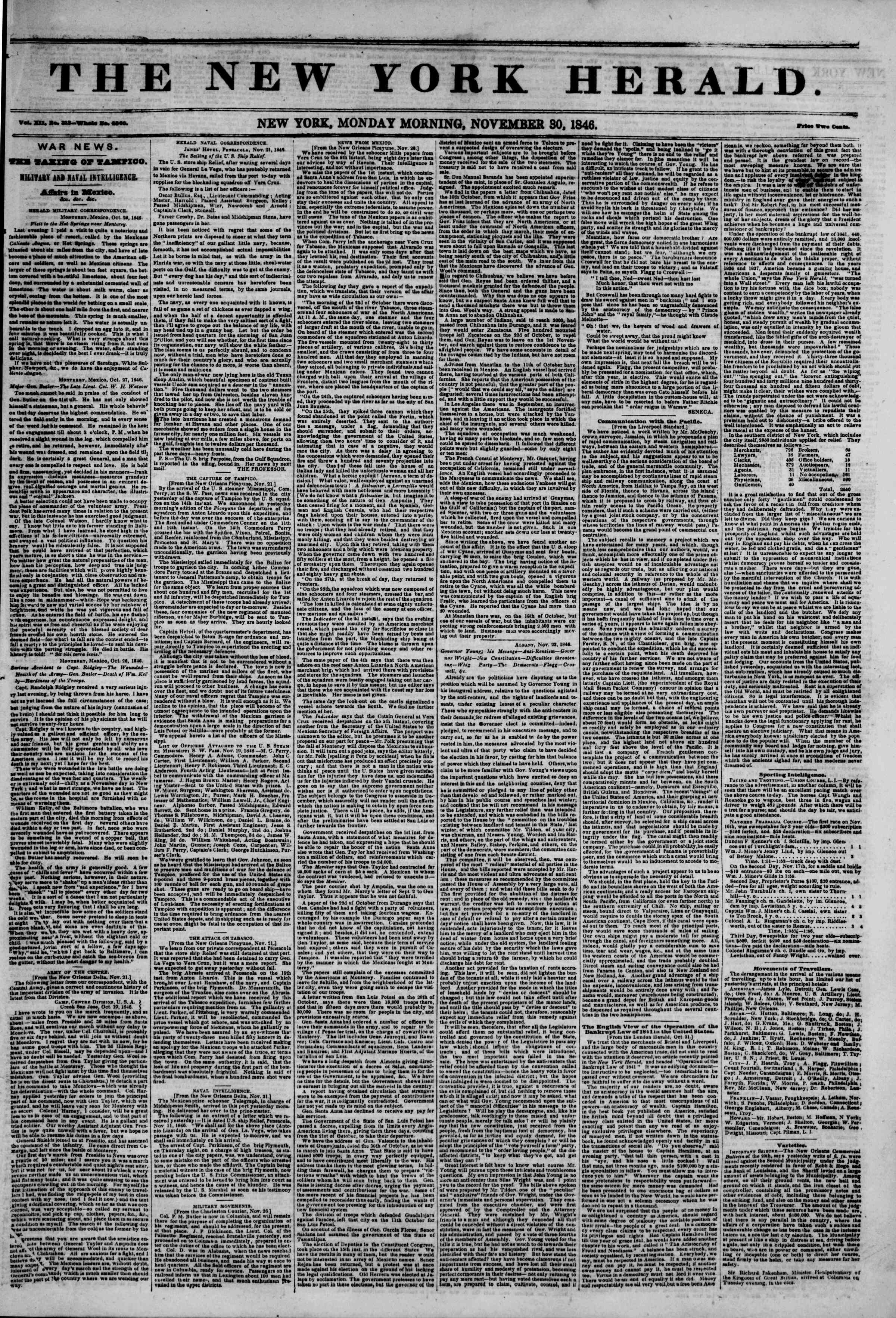 Newspaper of The New York Herald dated November 30, 1846 Page 1