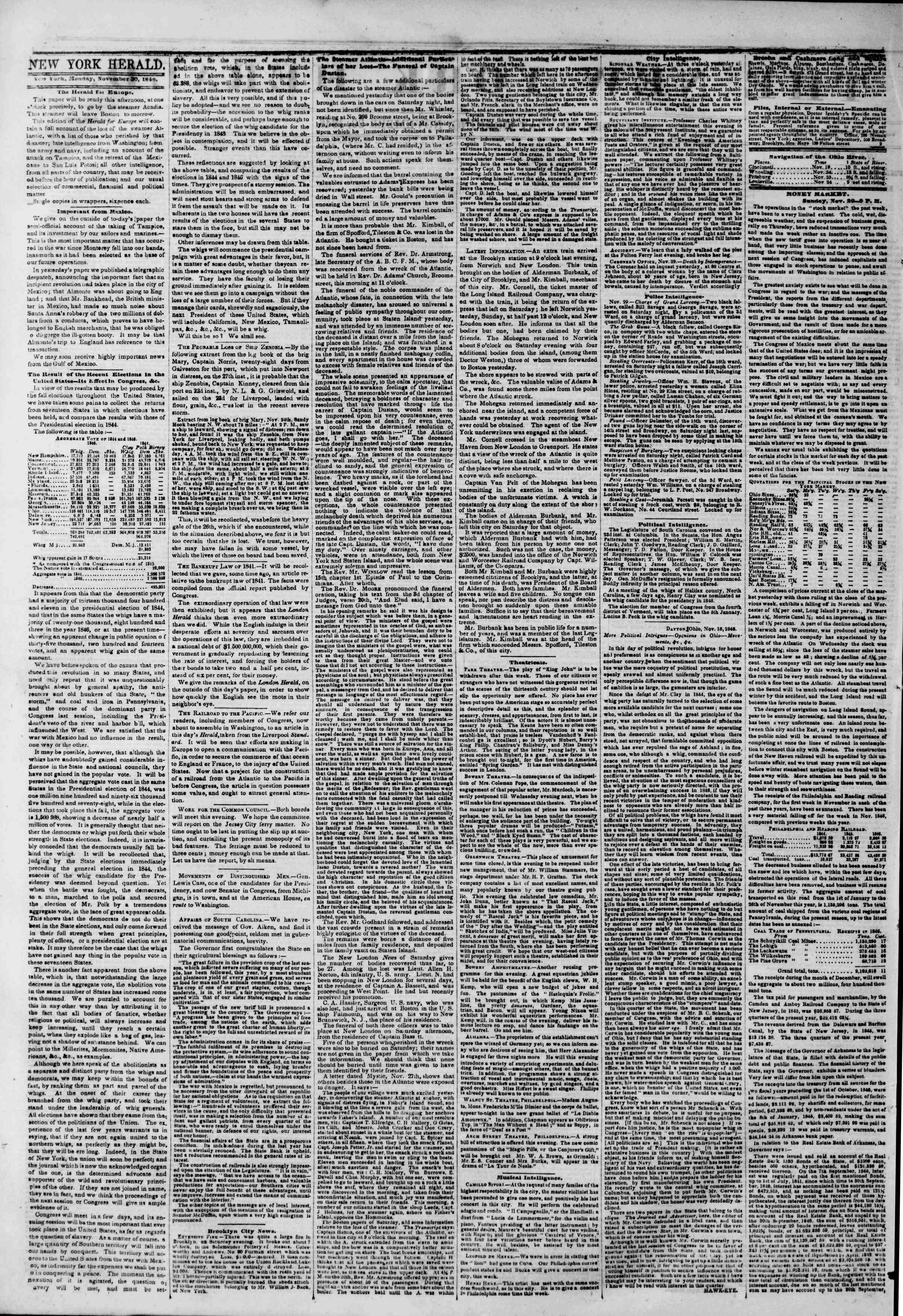 Newspaper of The New York Herald dated November 30, 1846 Page 2