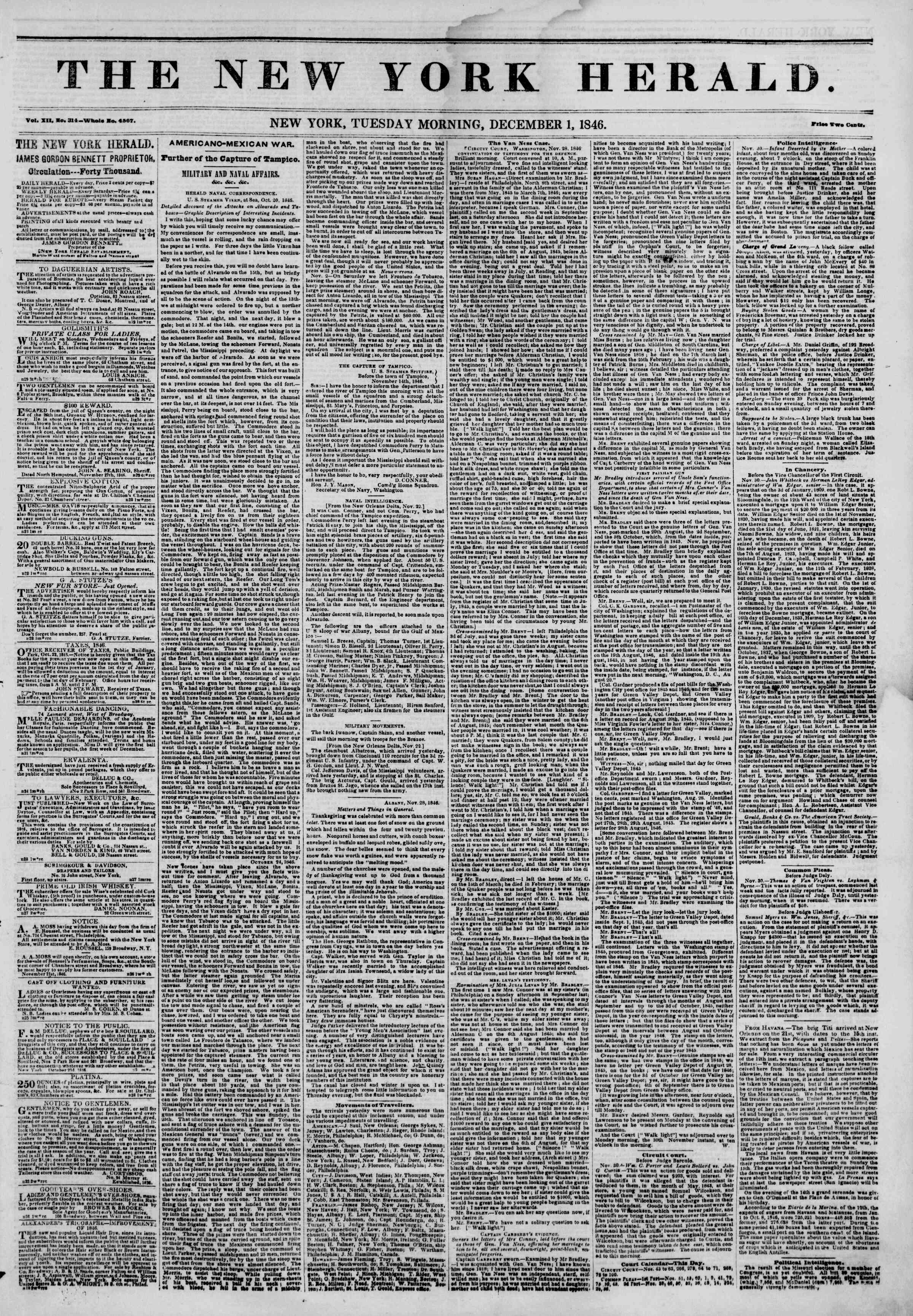 Newspaper of The New York Herald dated December 1, 1846 Page 1