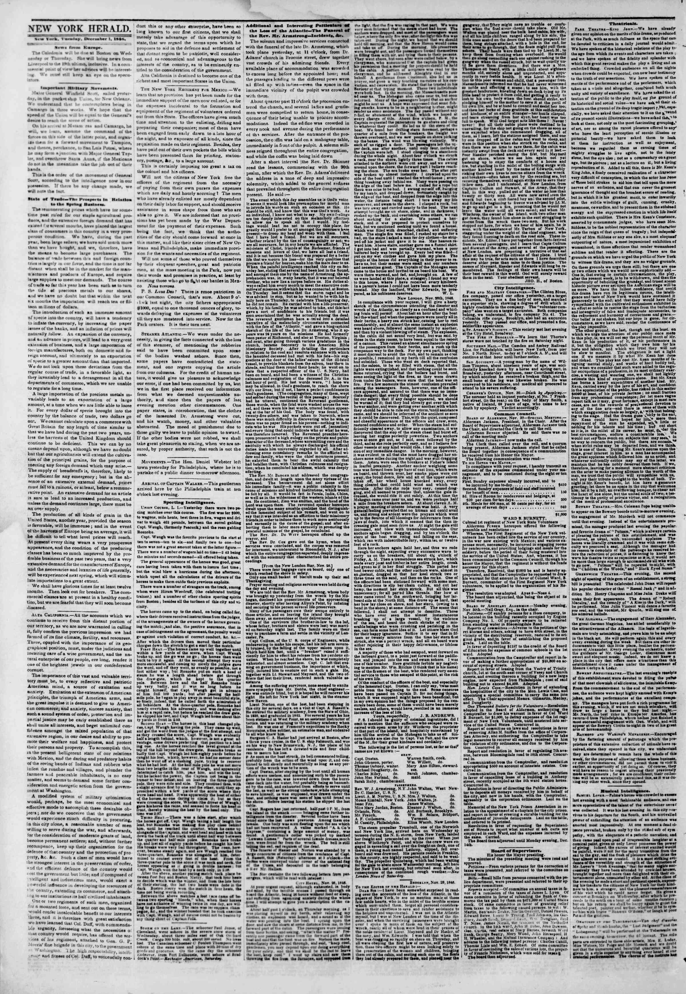 Newspaper of The New York Herald dated December 1, 1846 Page 2