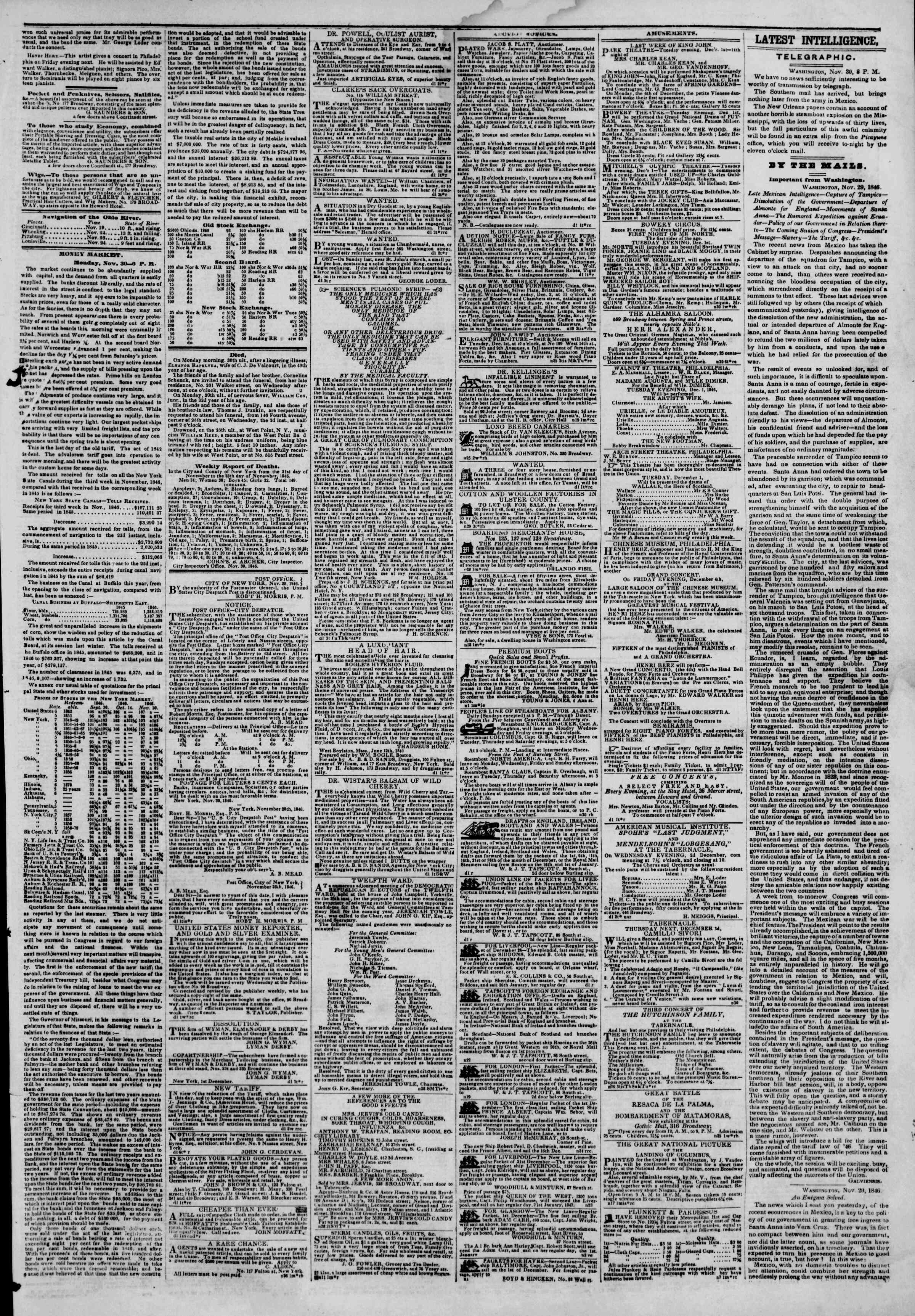 Newspaper of The New York Herald dated December 1, 1846 Page 3