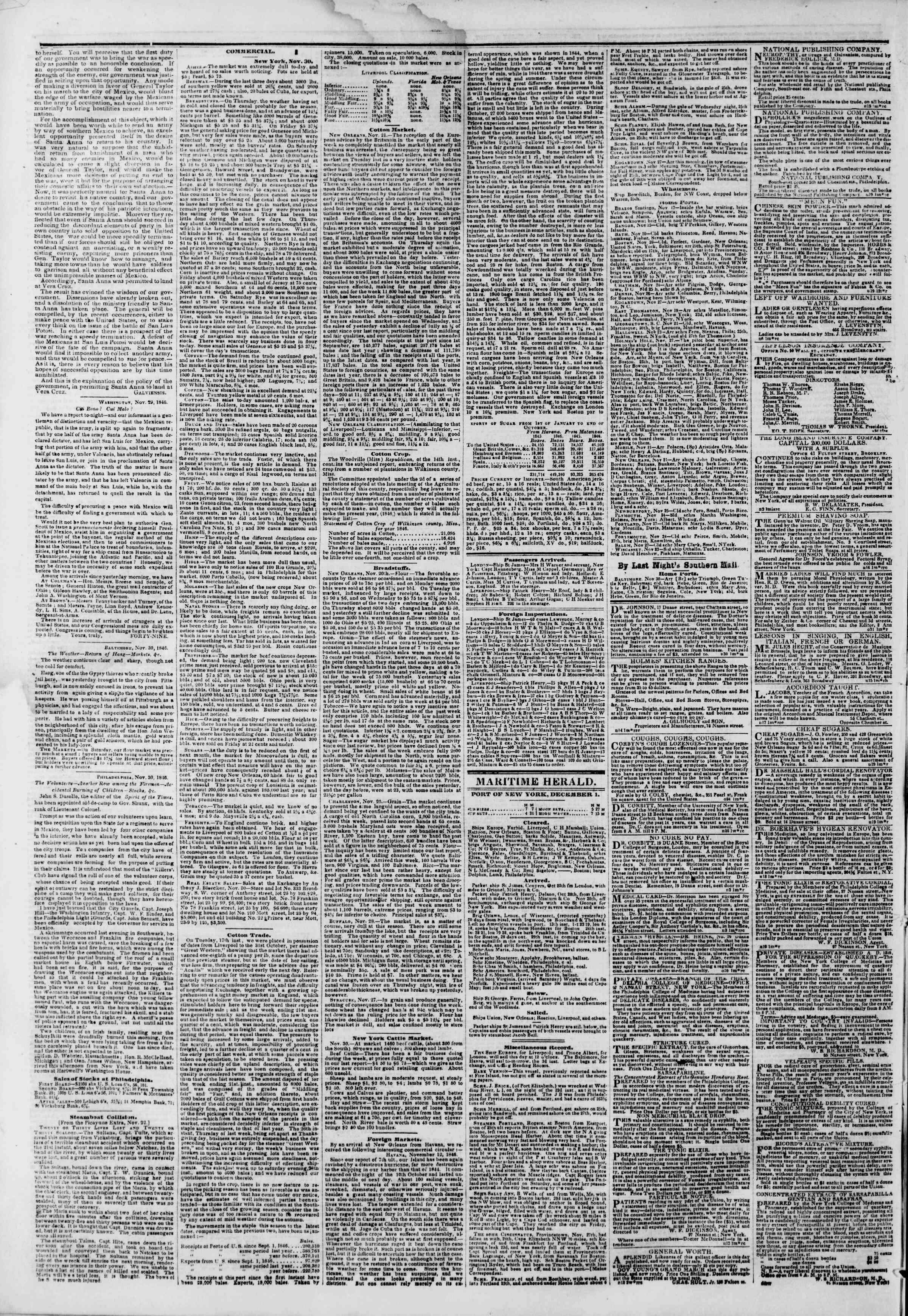 Newspaper of The New York Herald dated December 1, 1846 Page 4