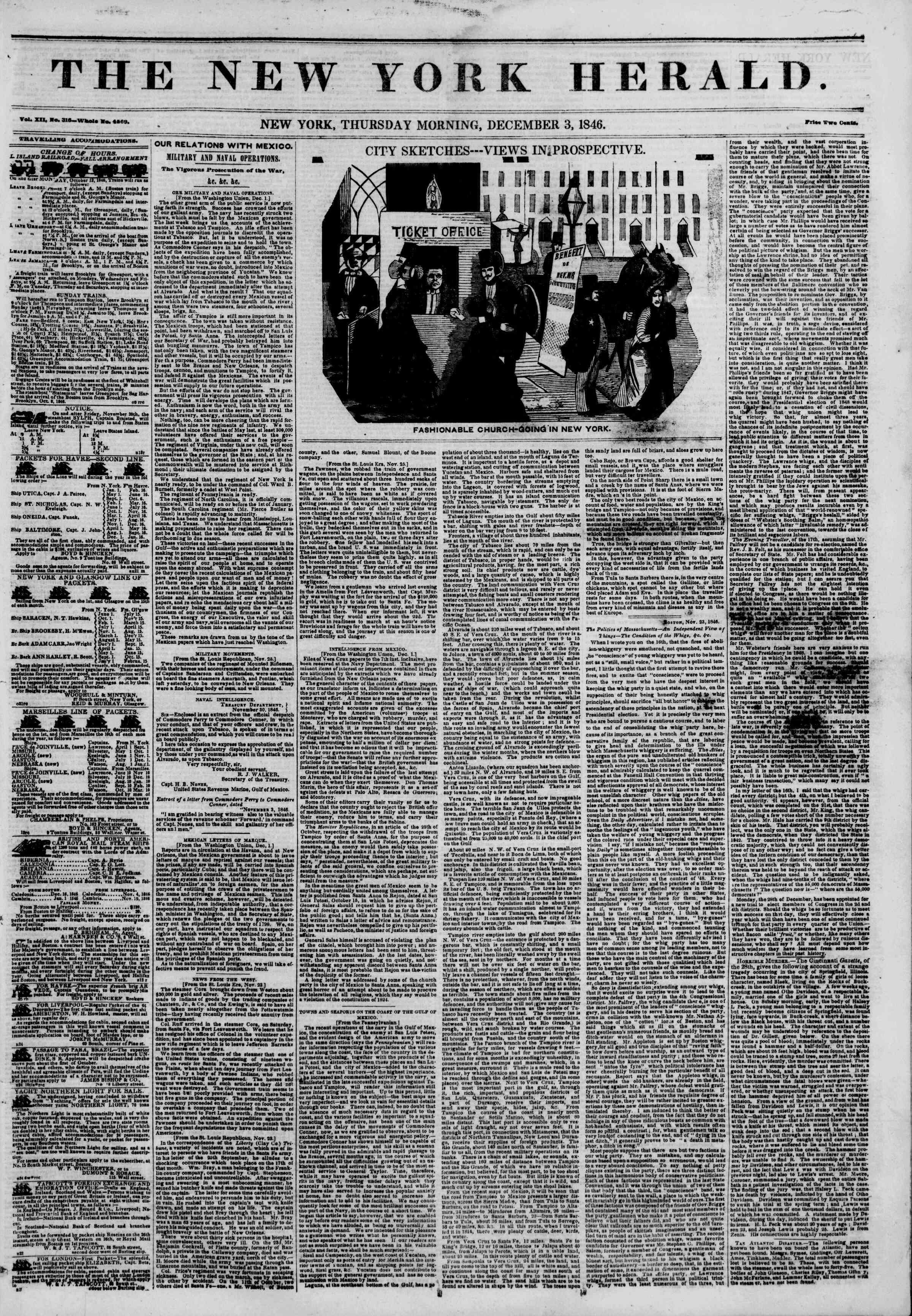 Newspaper of The New York Herald dated December 3, 1846 Page 1