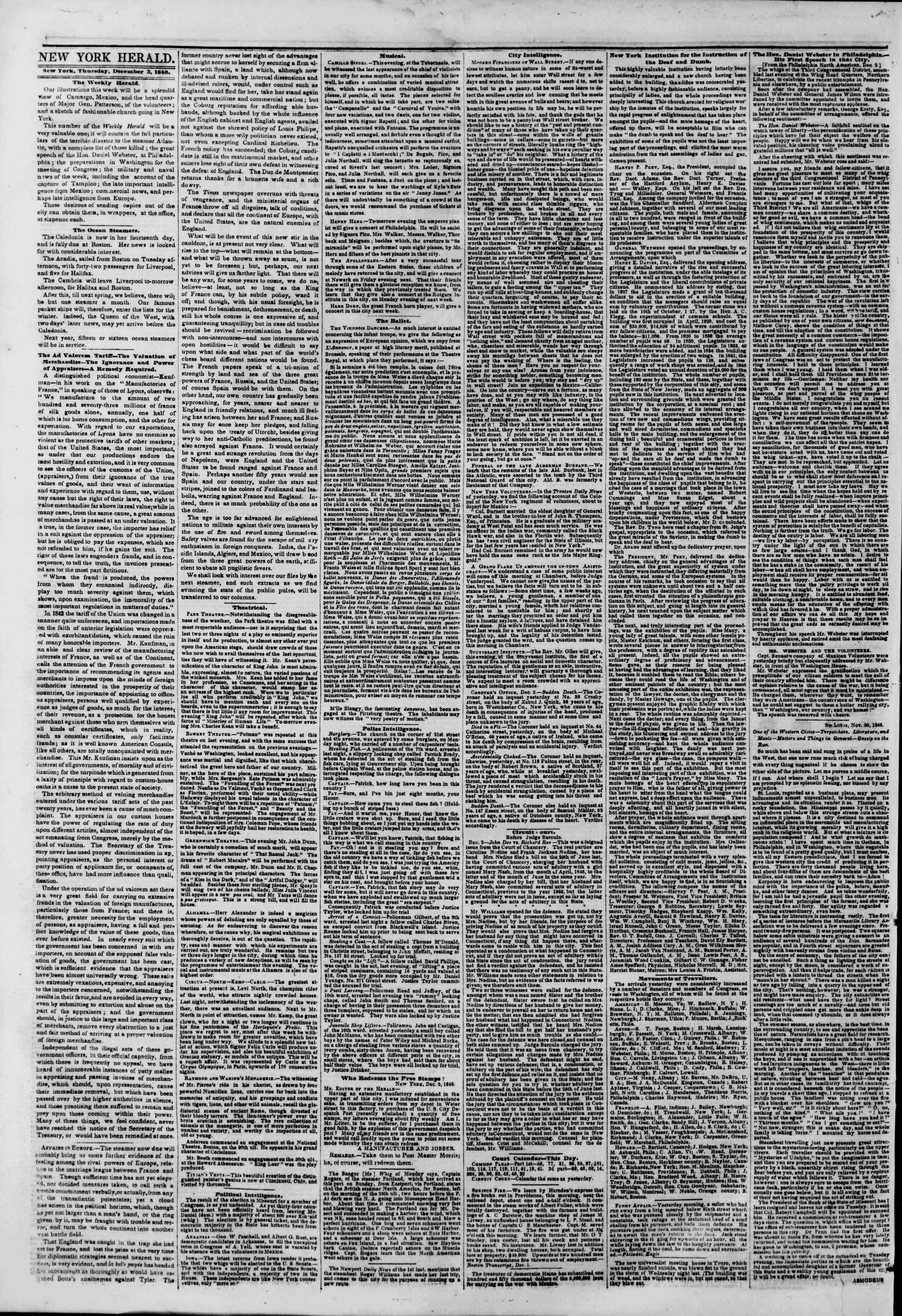 3 Aralık 1846 tarihli The New York Herald Gazetesi Sayfa 2