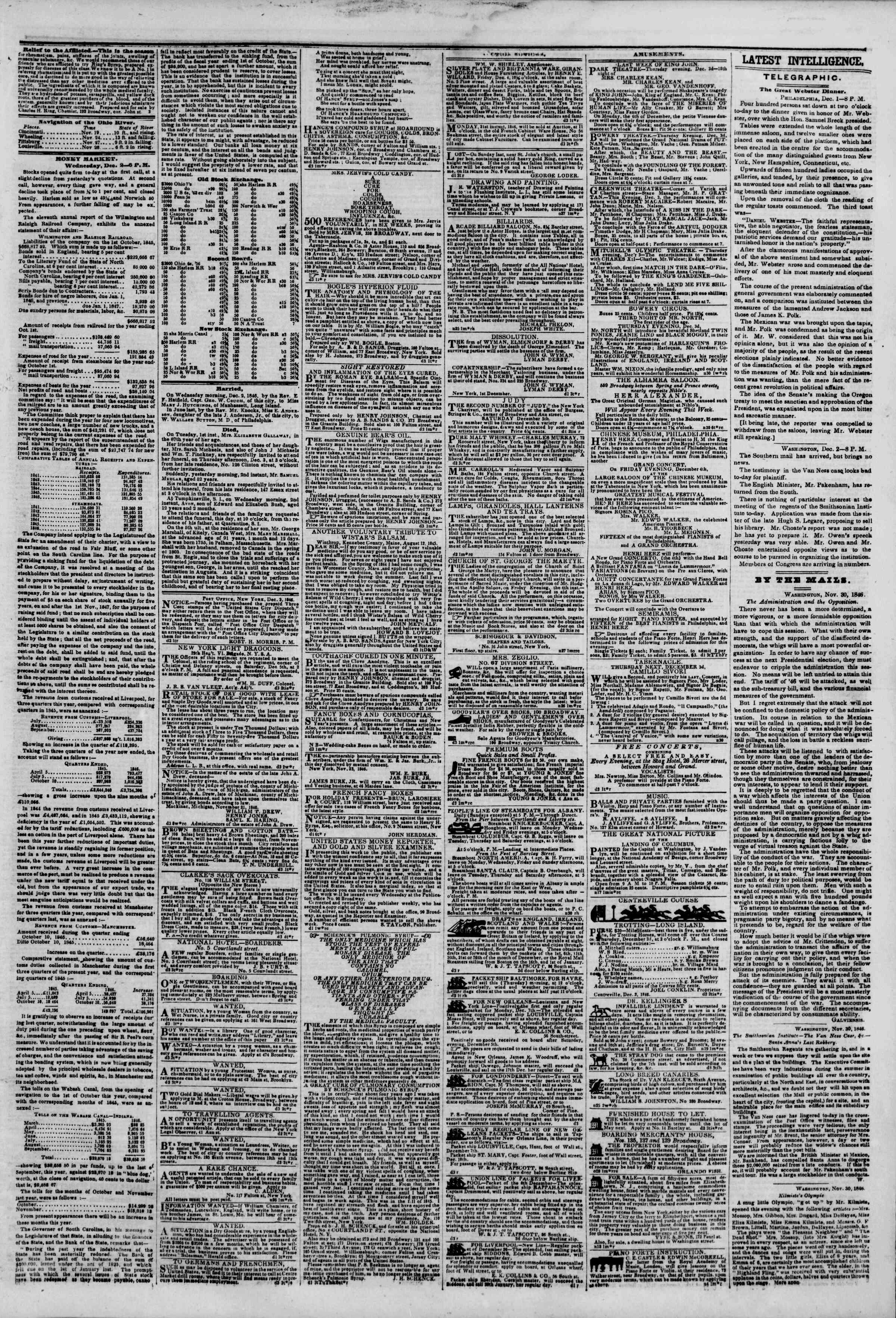 3 Aralık 1846 tarihli The New York Herald Gazetesi Sayfa 3