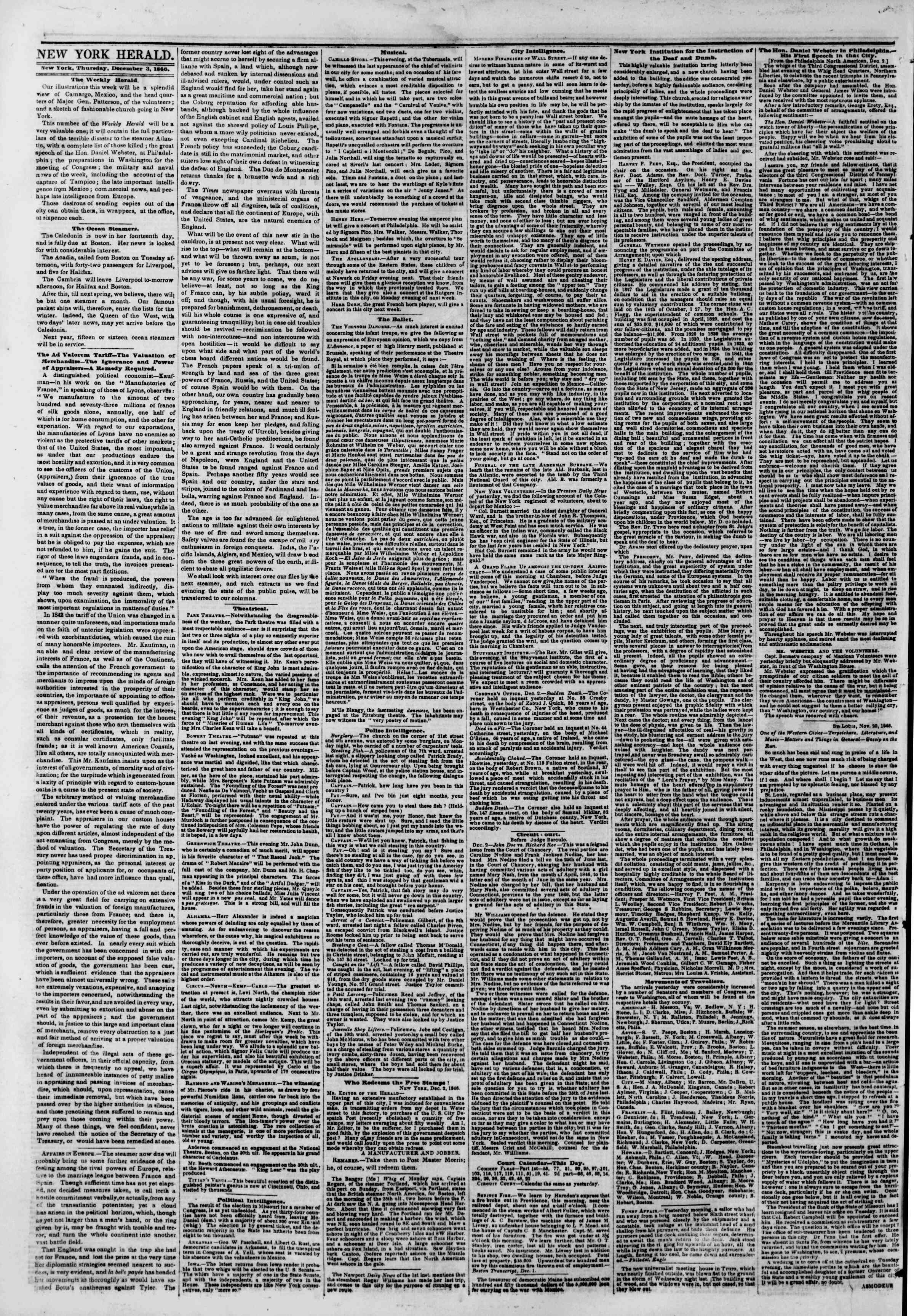 Newspaper of The New York Herald dated December 3, 1846 Page 4