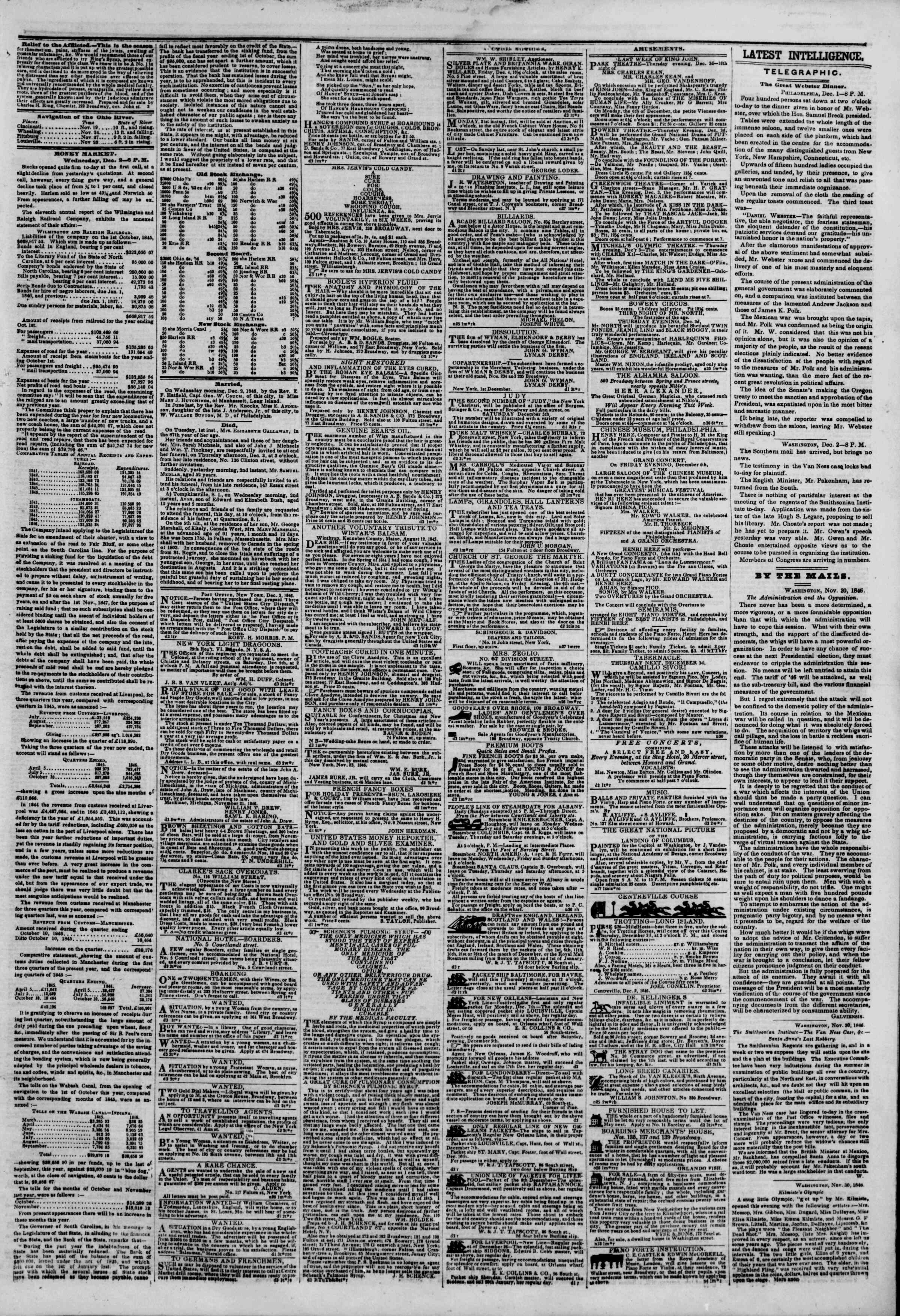 Newspaper of The New York Herald dated December 3, 1846 Page 5