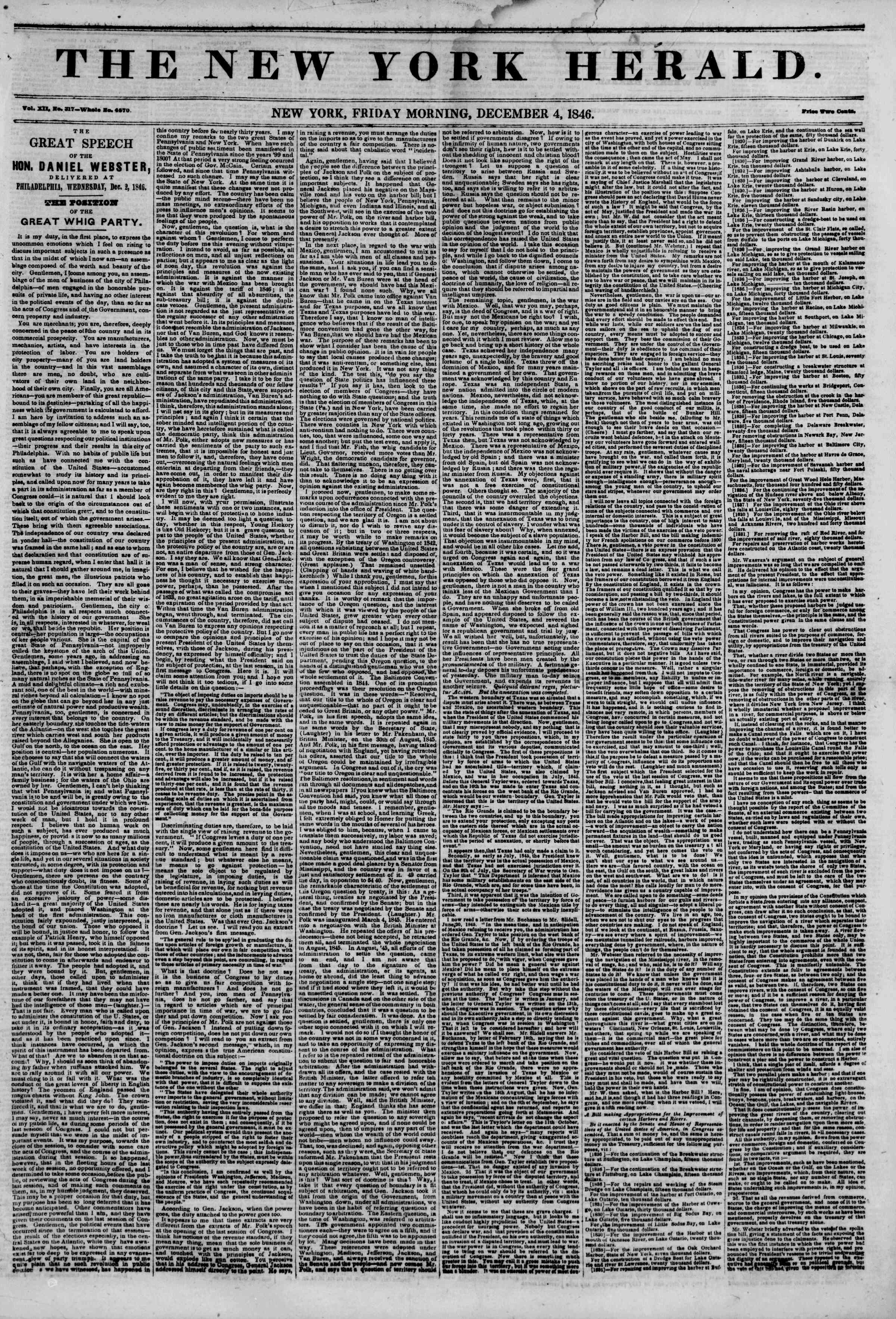 Newspaper of The New York Herald dated December 4, 1846 Page 1