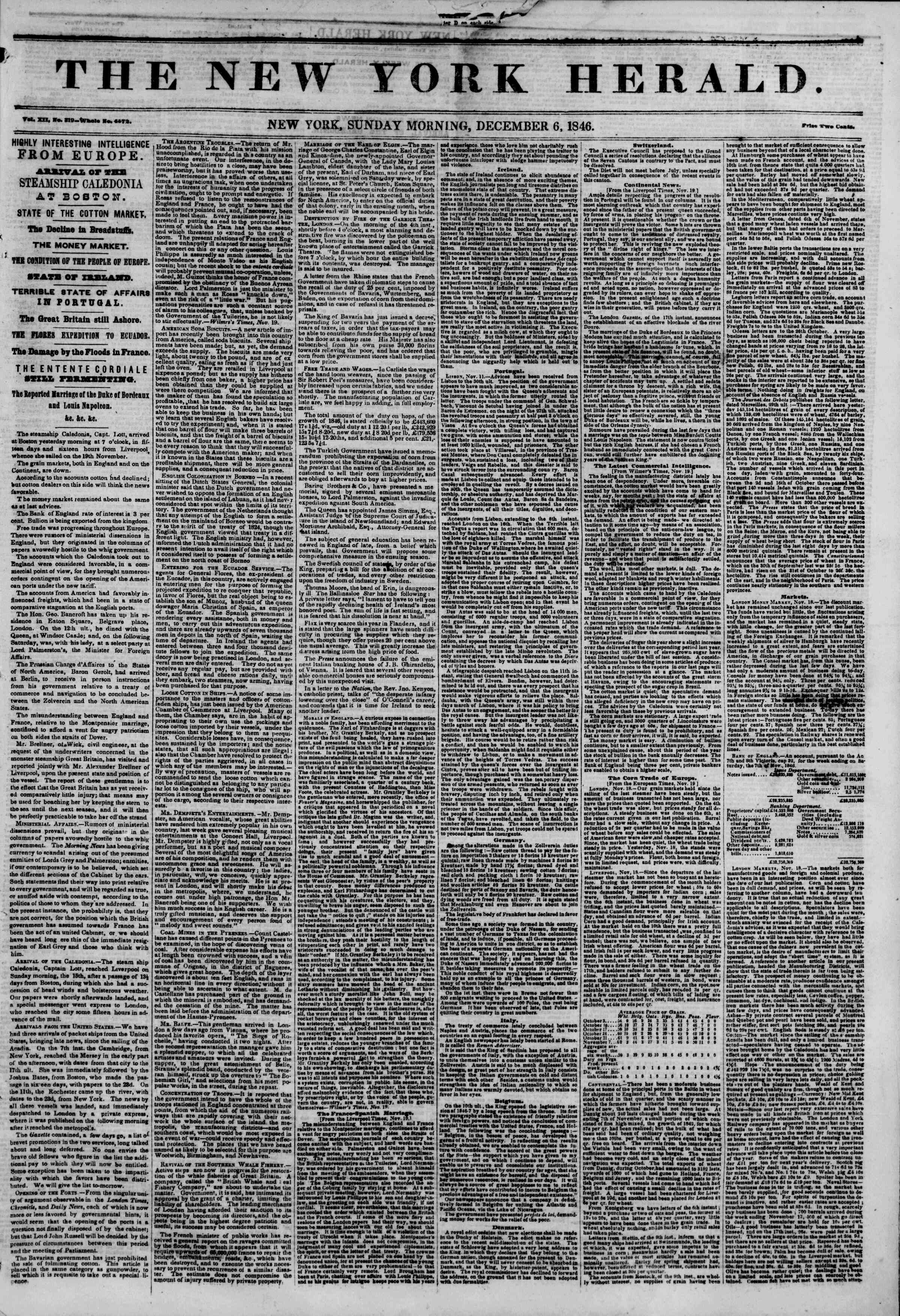 Newspaper of The New York Herald dated December 6, 1846 Page 1