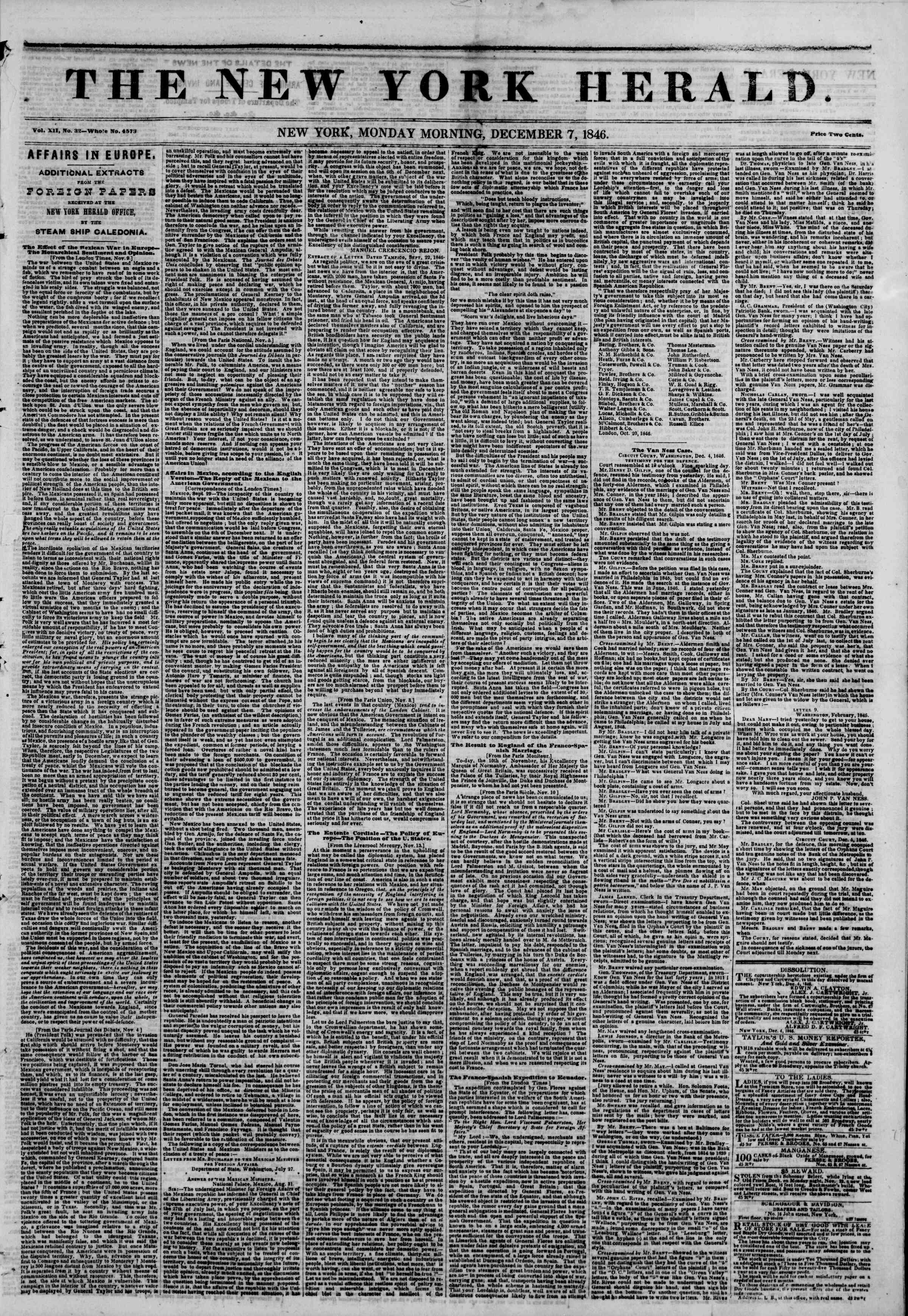 Newspaper of The New York Herald dated December 7, 1846 Page 1