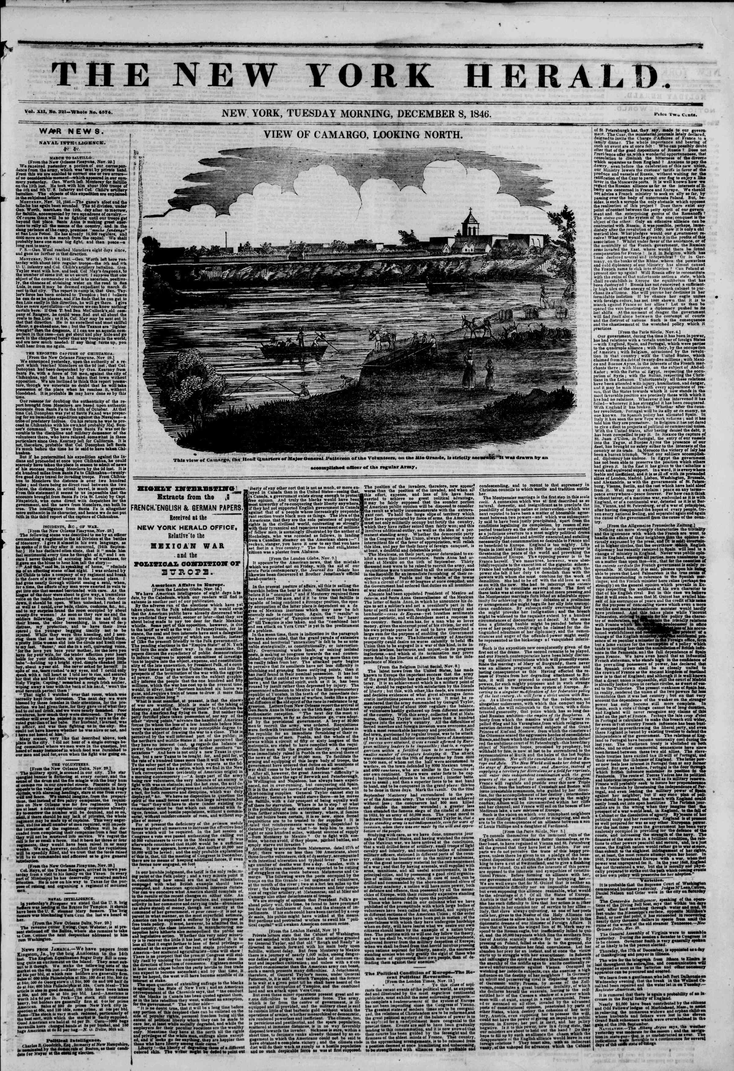 Newspaper of The New York Herald dated December 8, 1846 Page 1