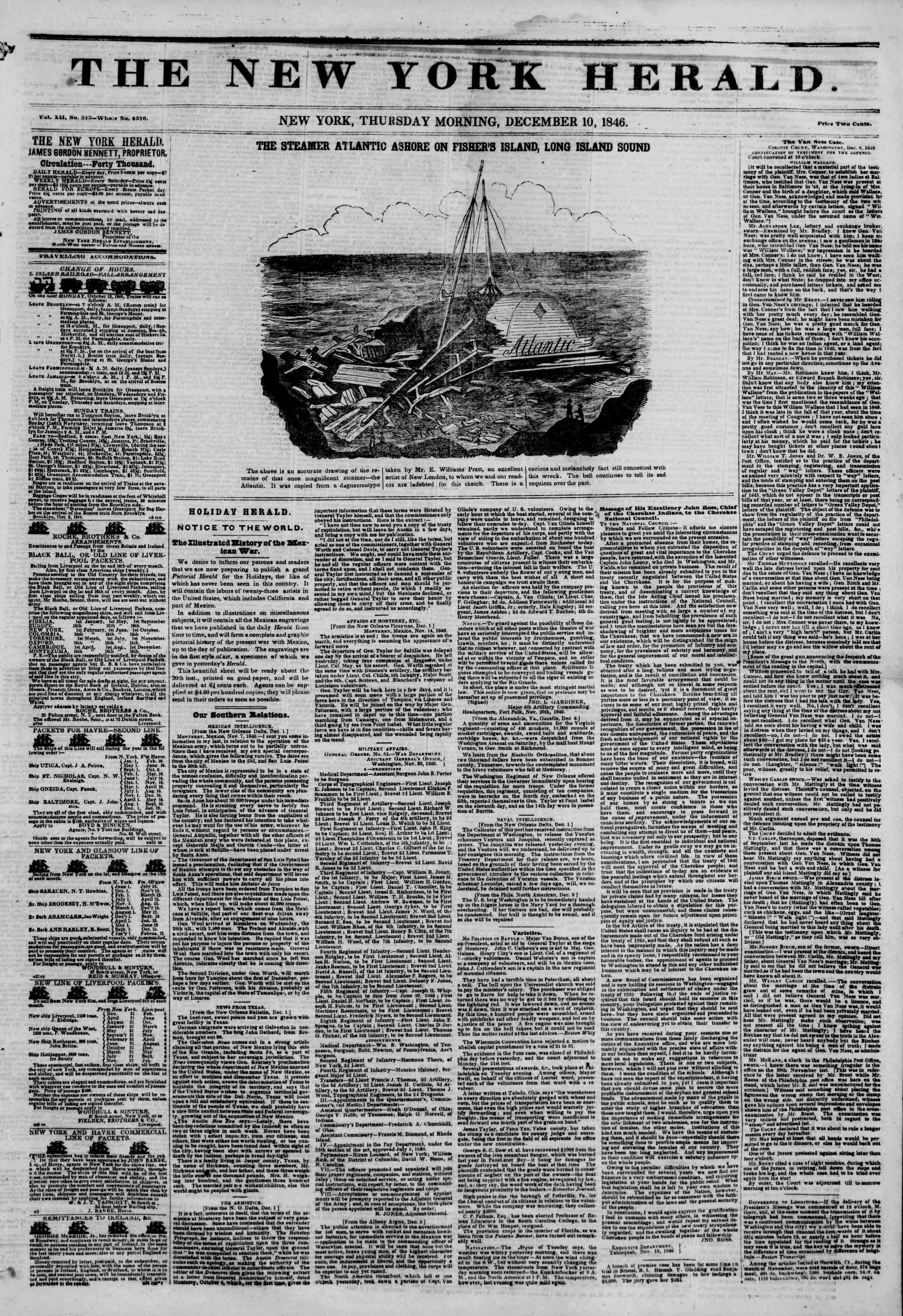 Newspaper of The New York Herald dated December 10, 1846 Page 1