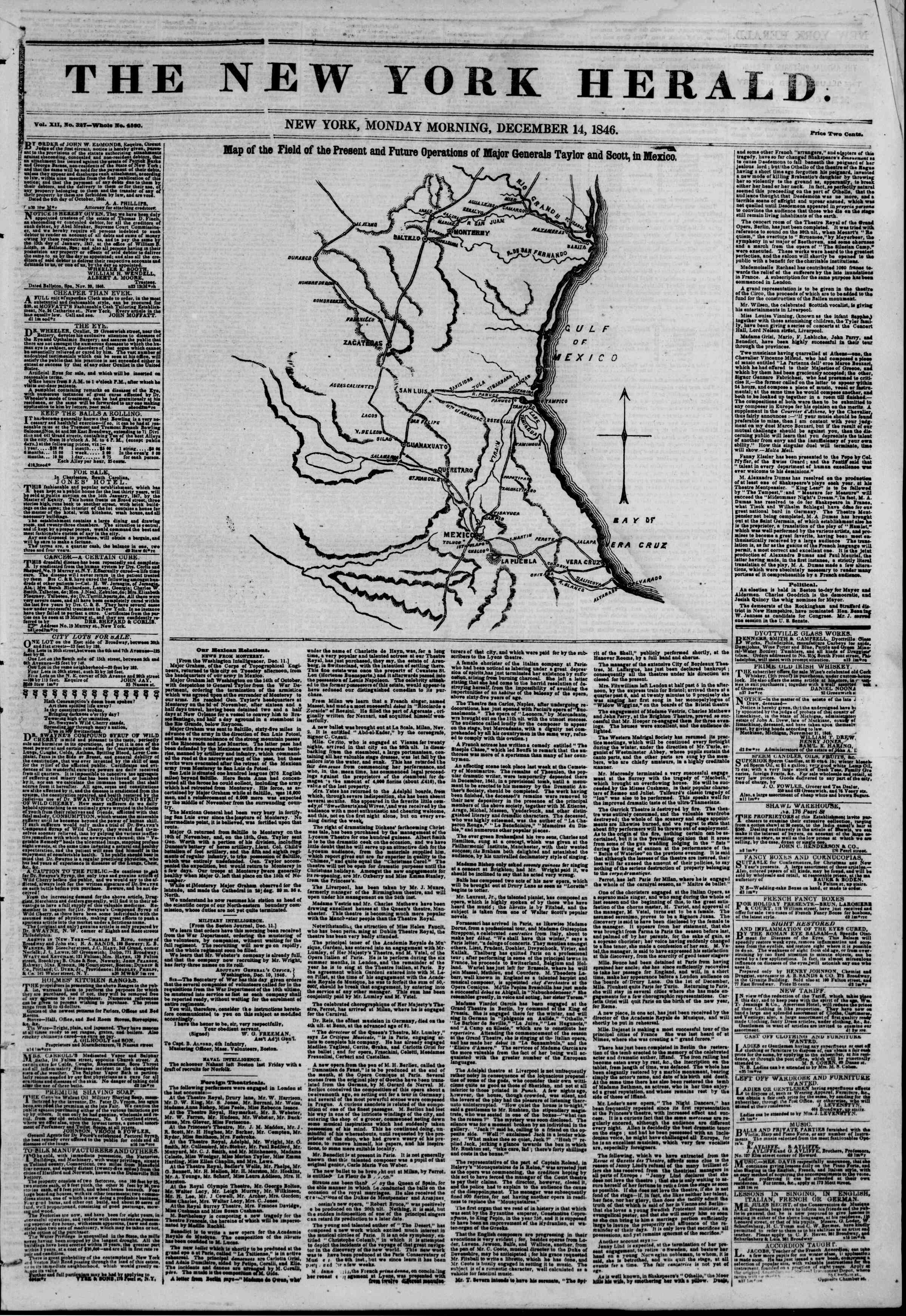 Newspaper of The New York Herald dated December 14, 1846 Page 1