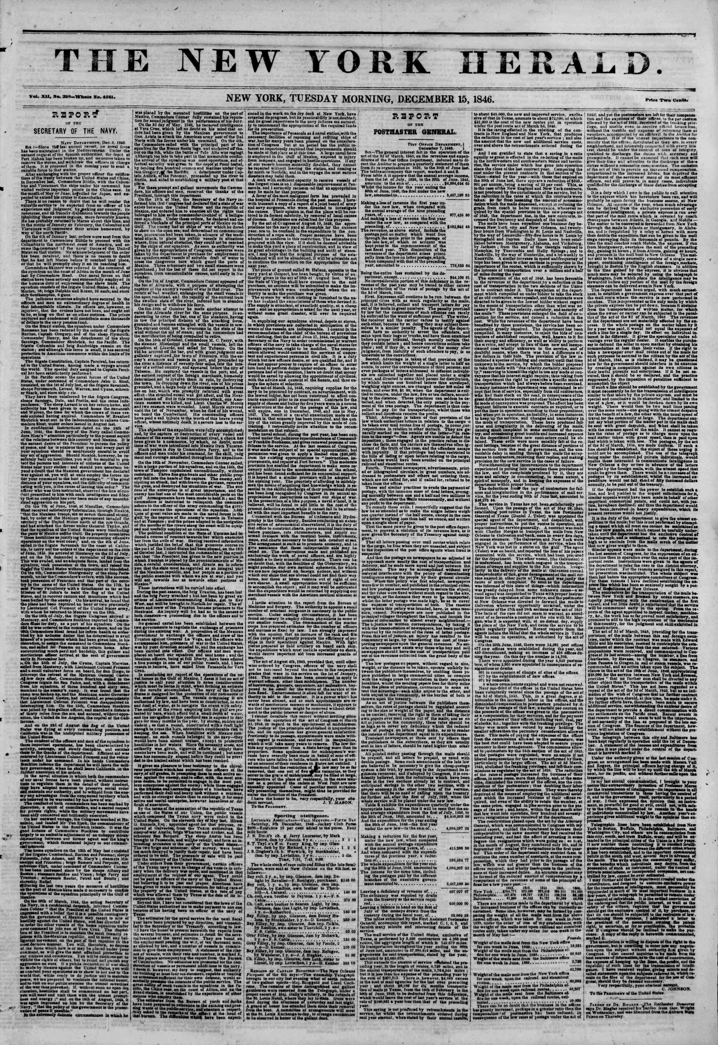Newspaper of The New York Herald dated December 15, 1846 Page 1