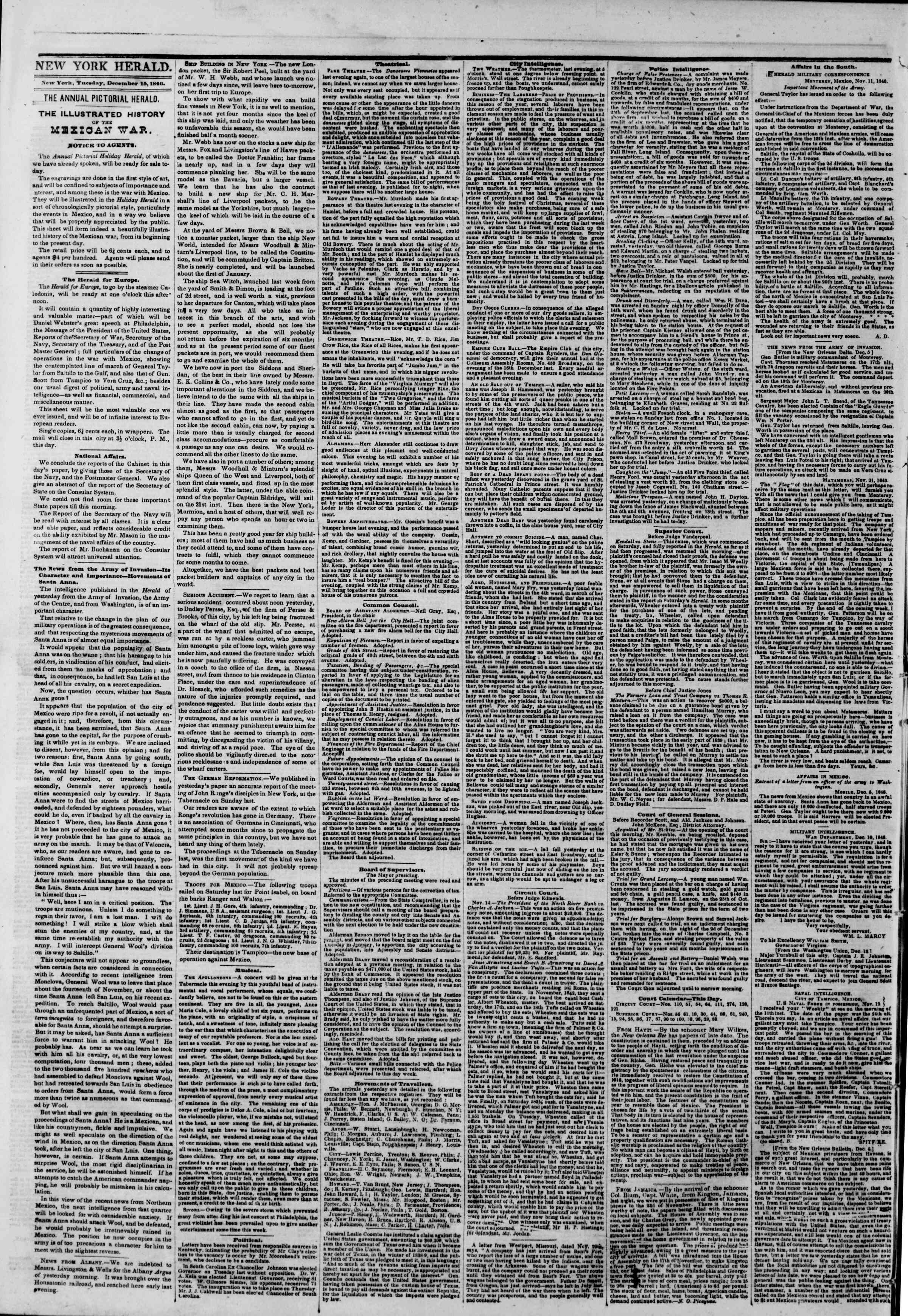 Newspaper of The New York Herald dated December 15, 1846 Page 2