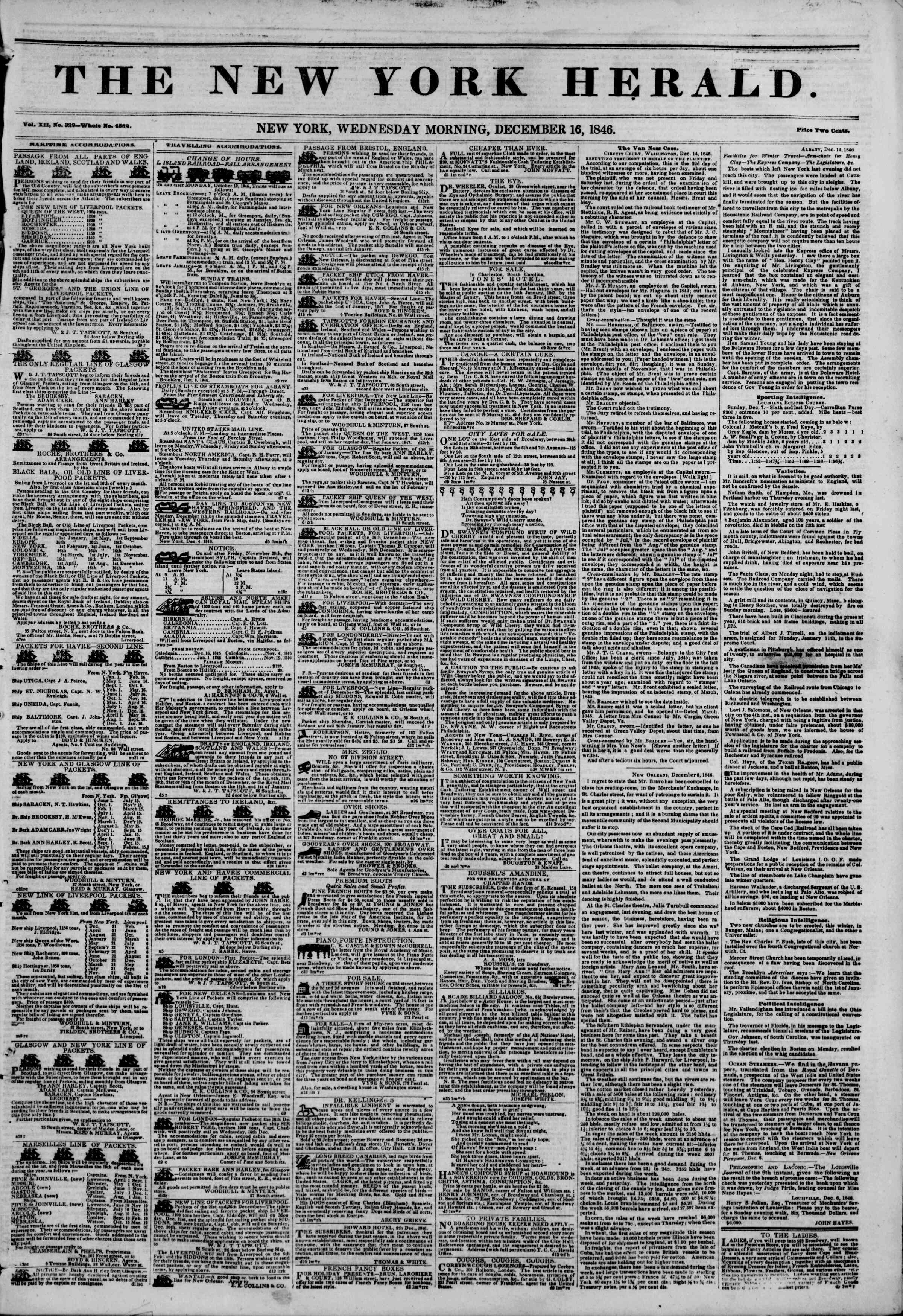 Newspaper of The New York Herald dated December 16, 1846 Page 1