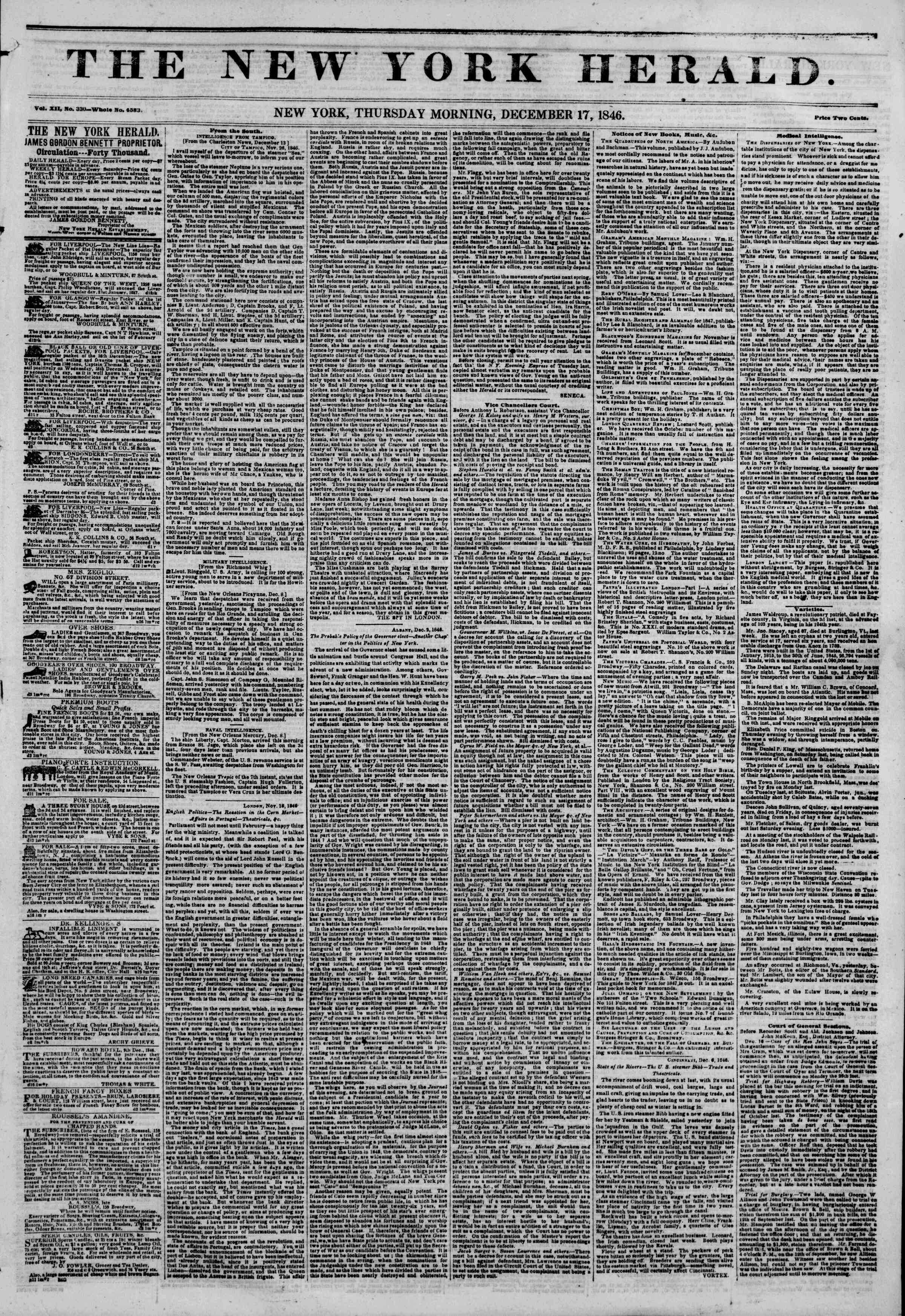 Newspaper of The New York Herald dated December 17, 1846 Page 1