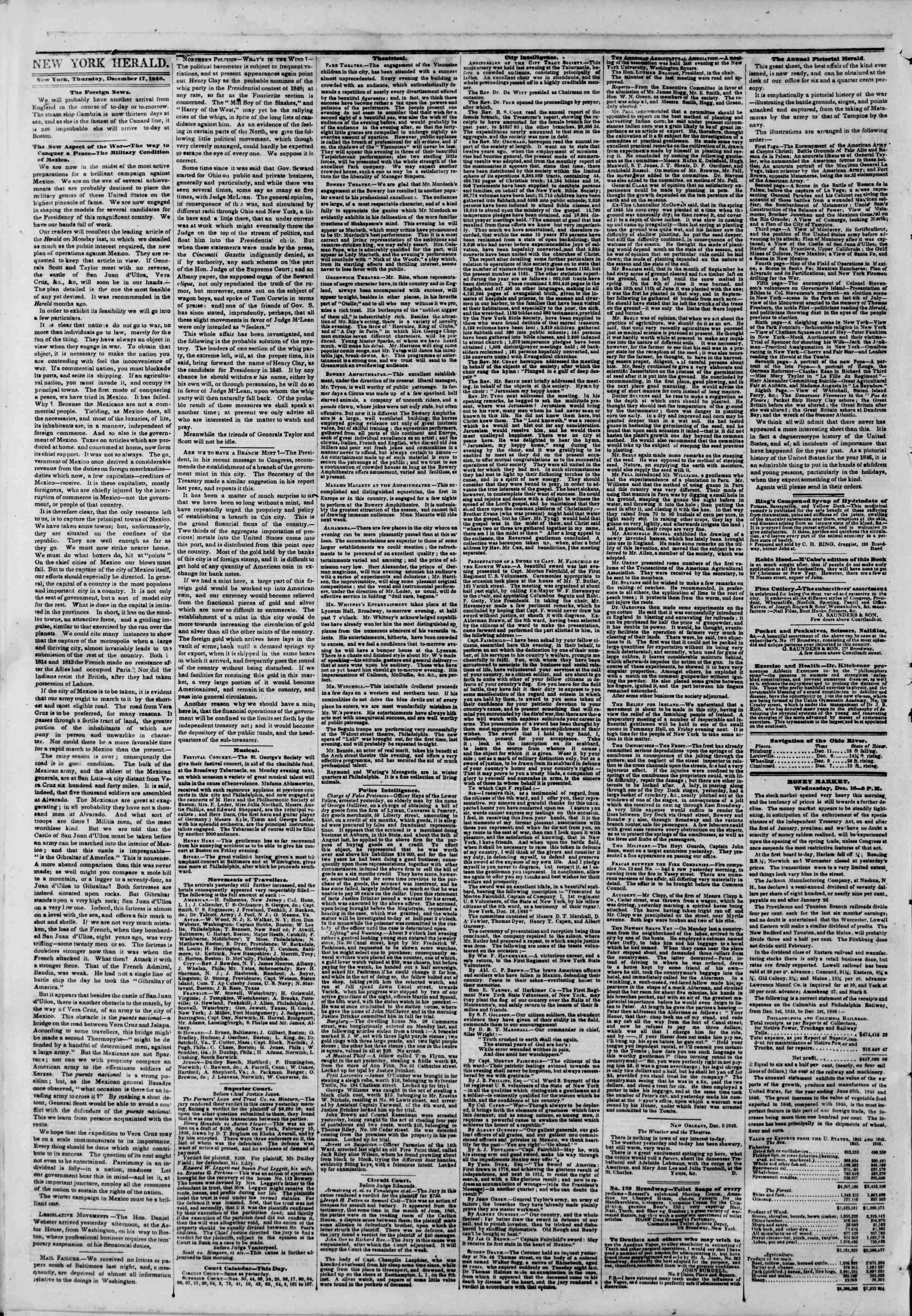 Newspaper of The New York Herald dated December 17, 1846 Page 2