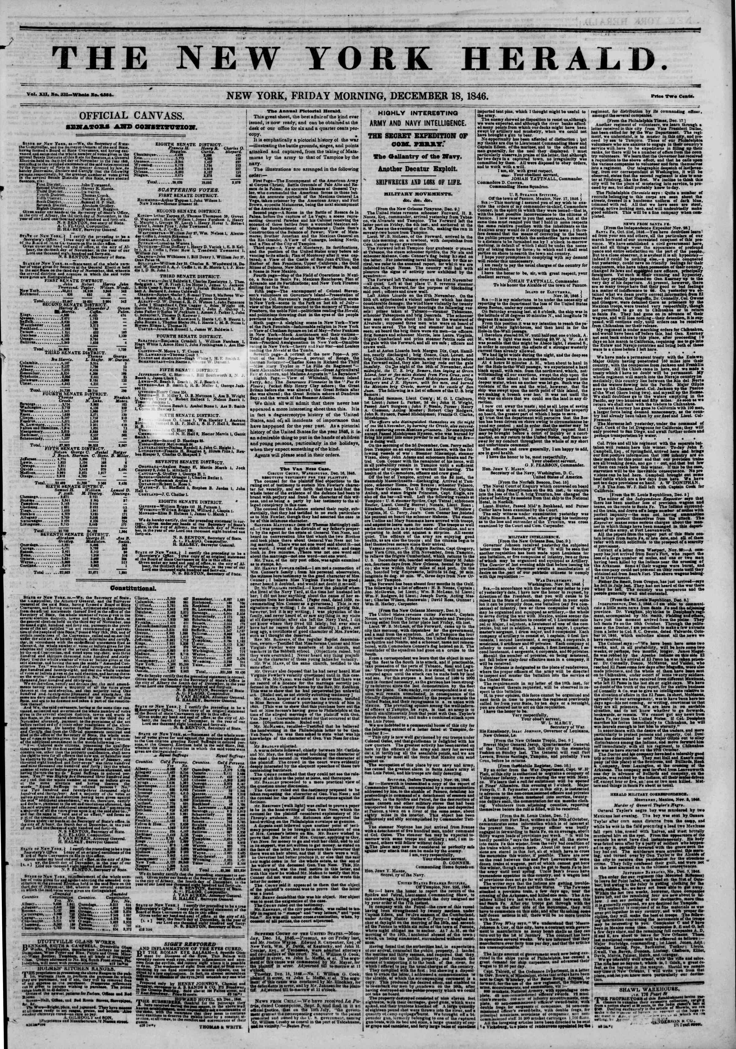 Newspaper of The New York Herald dated December 18, 1846 Page 1