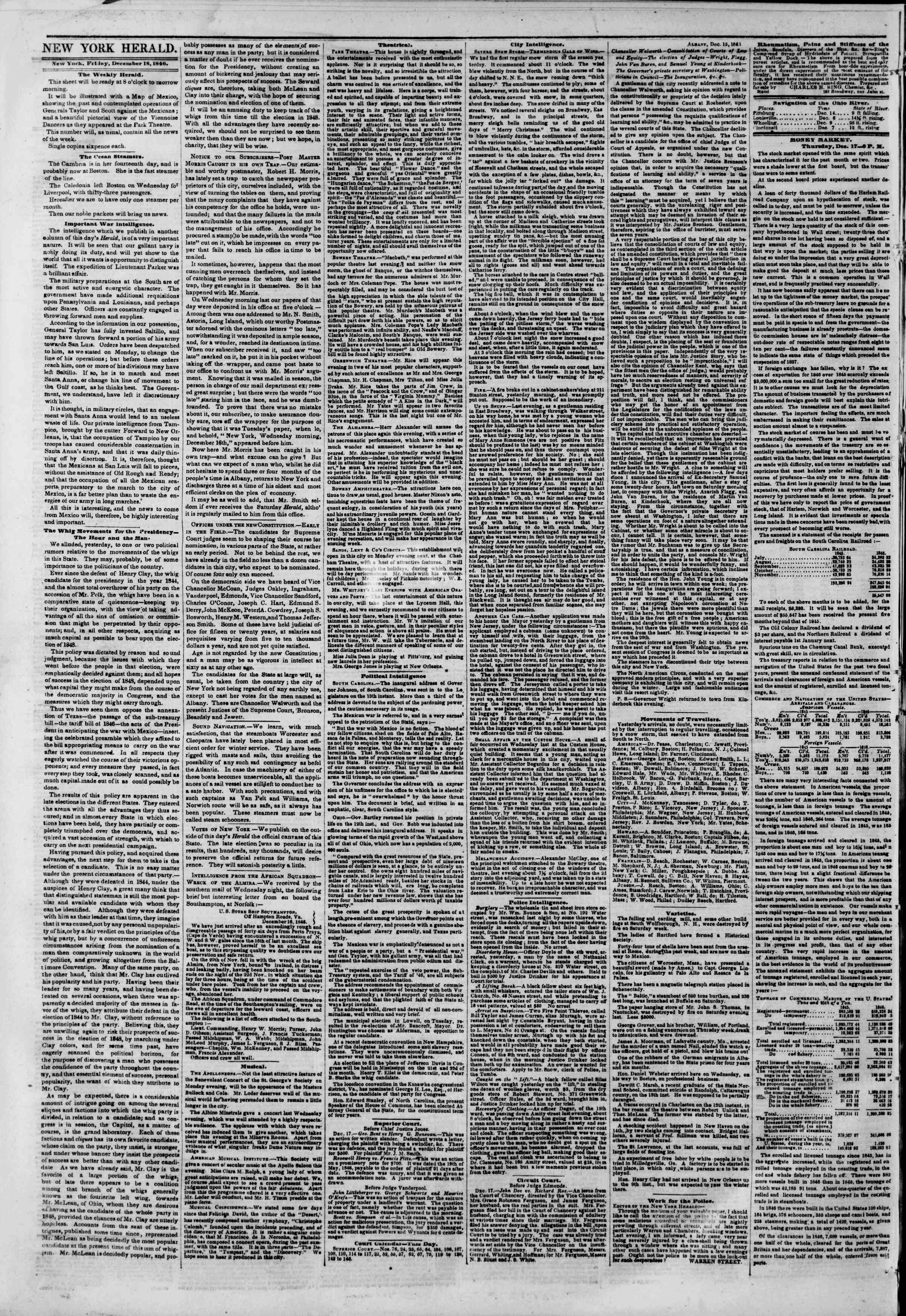 Newspaper of The New York Herald dated December 18, 1846 Page 2