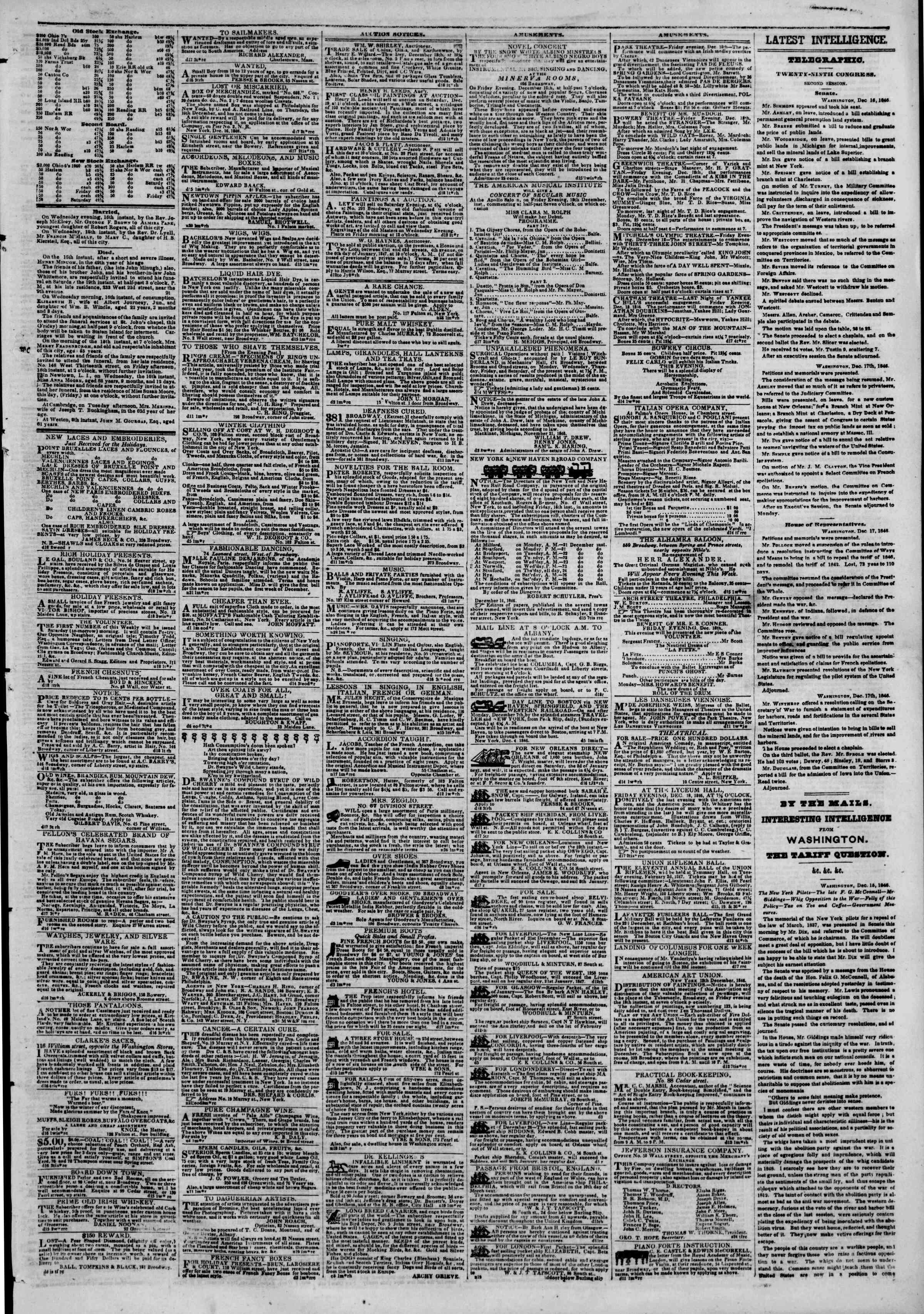 18 Aralık 1846 tarihli The New York Herald Gazetesi Sayfa 3