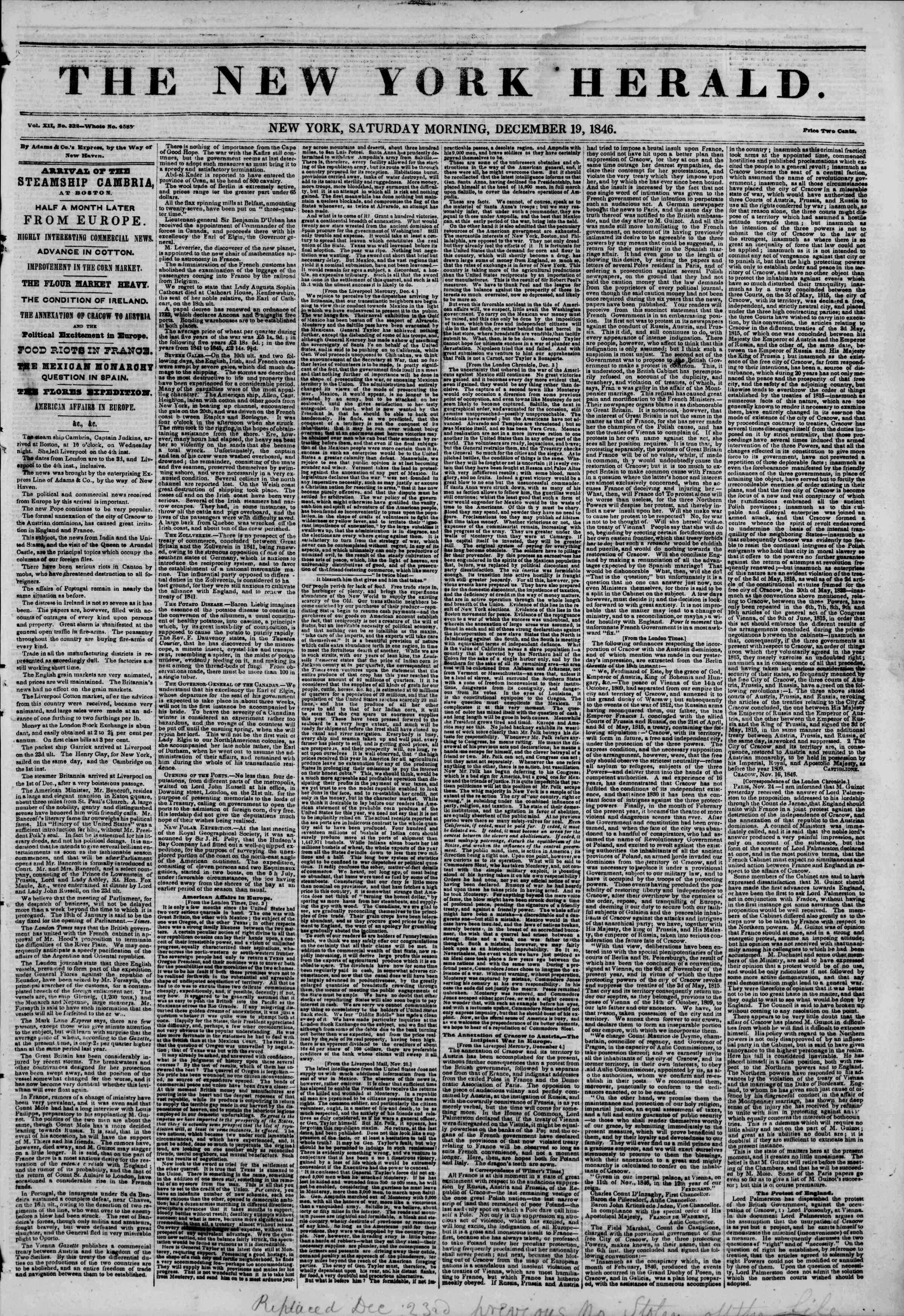 Newspaper of The New York Herald dated December 19, 1846 Page 1