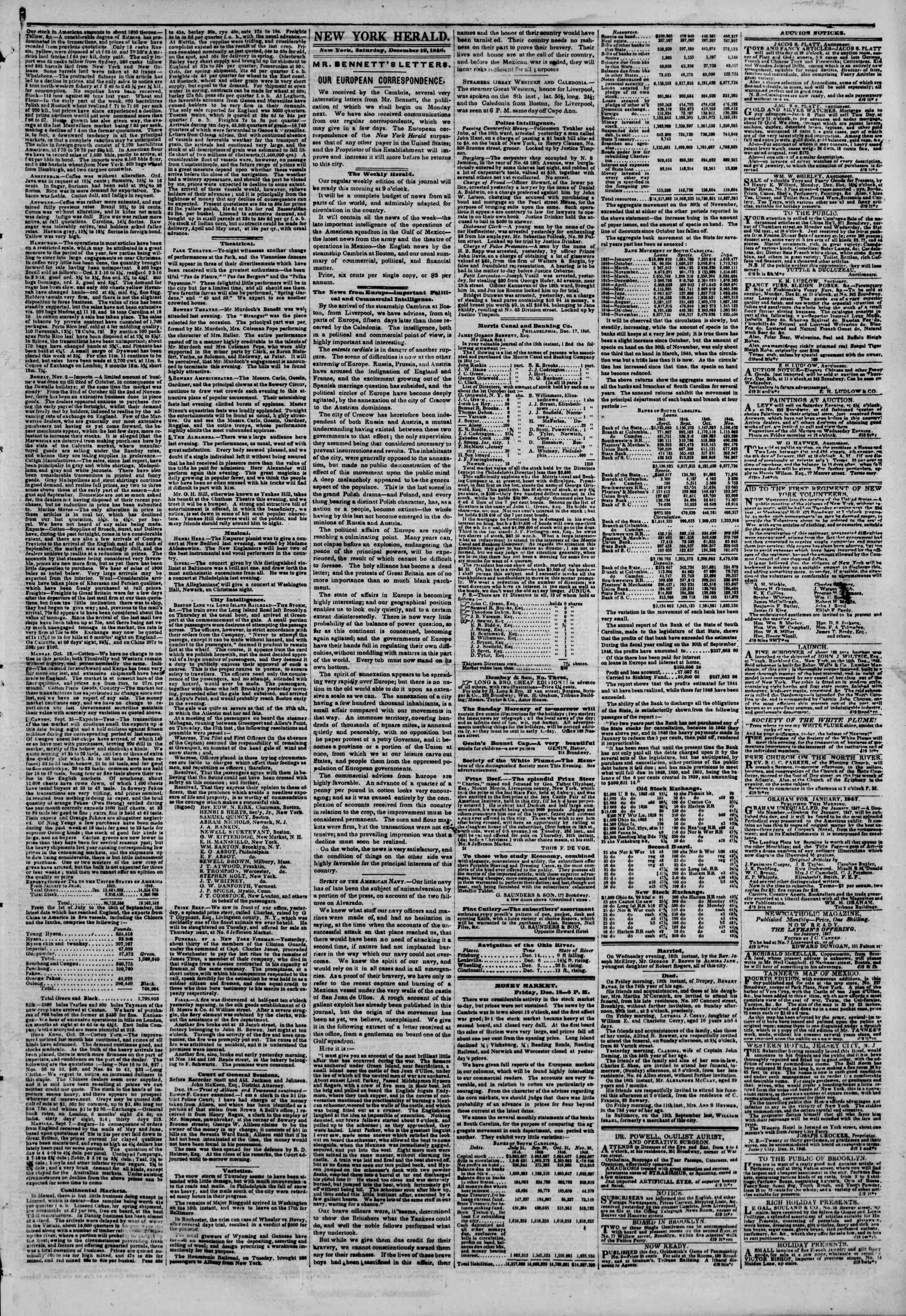Newspaper of The New York Herald dated December 19, 1846 Page 3