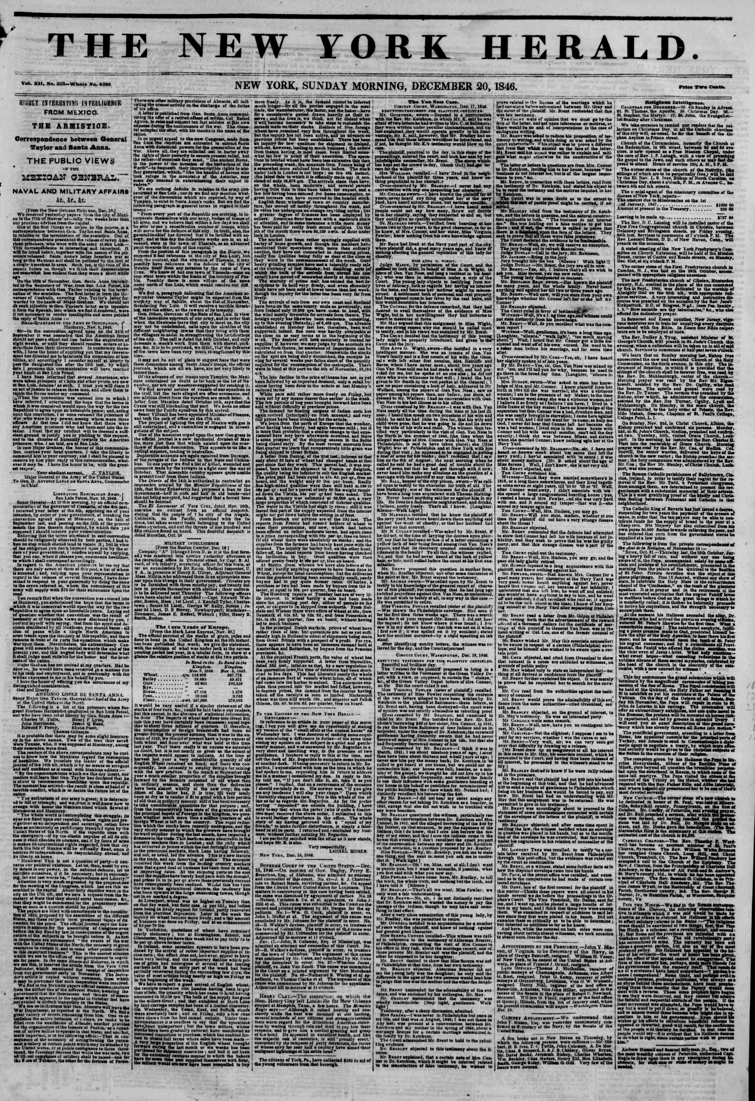 Newspaper of The New York Herald dated December 20, 1846 Page 1