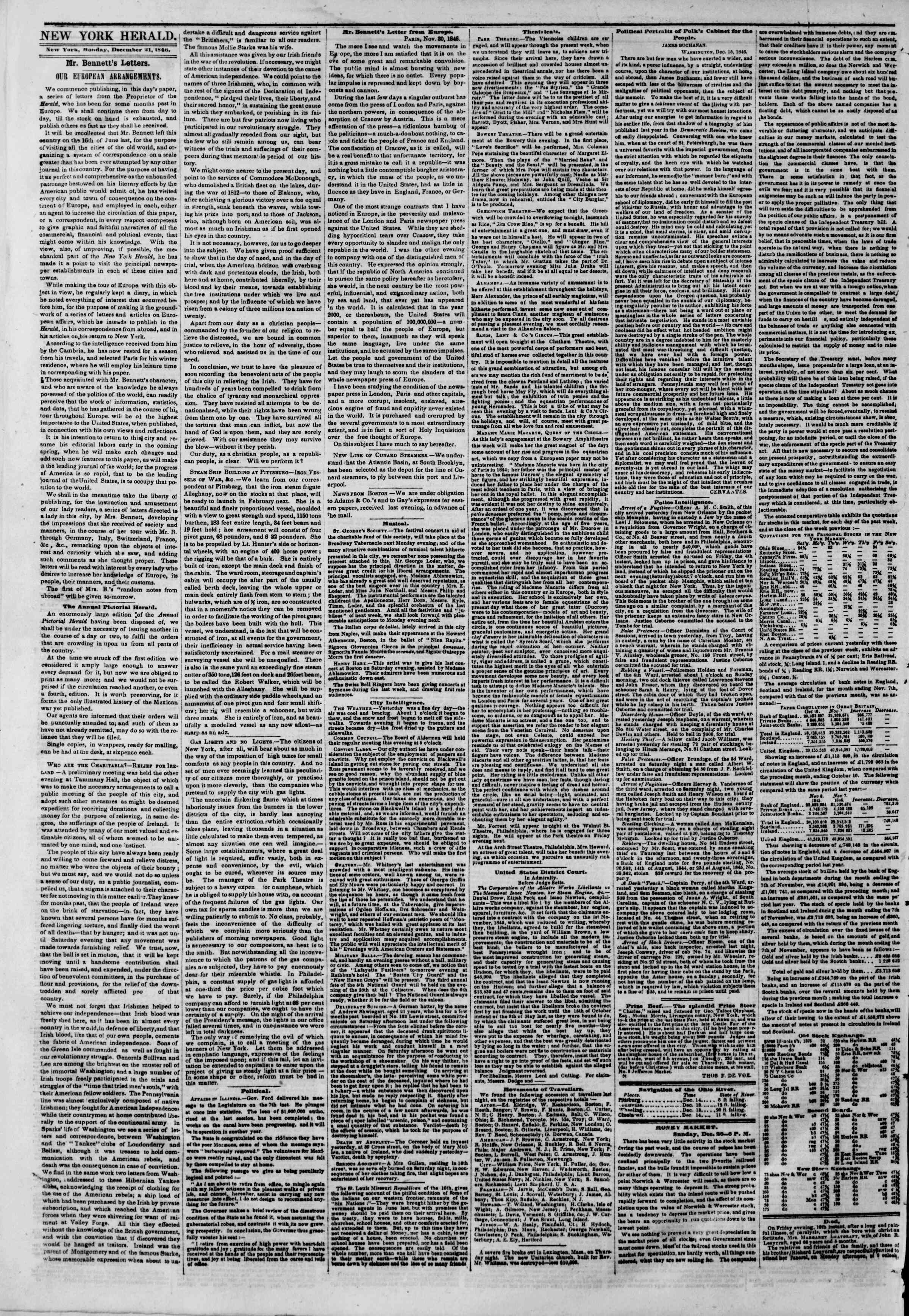 Newspaper of The New York Herald dated December 21, 1846 Page 2